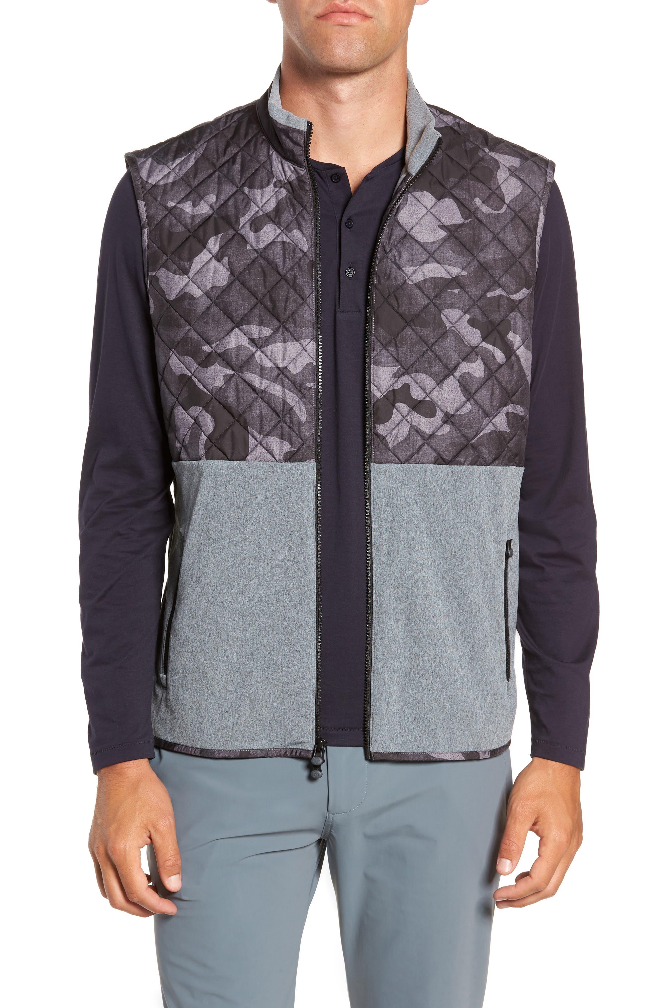 Huron Hybrid Vest,                         Main,                         color, GREY HEATHER/ GREY CAMO