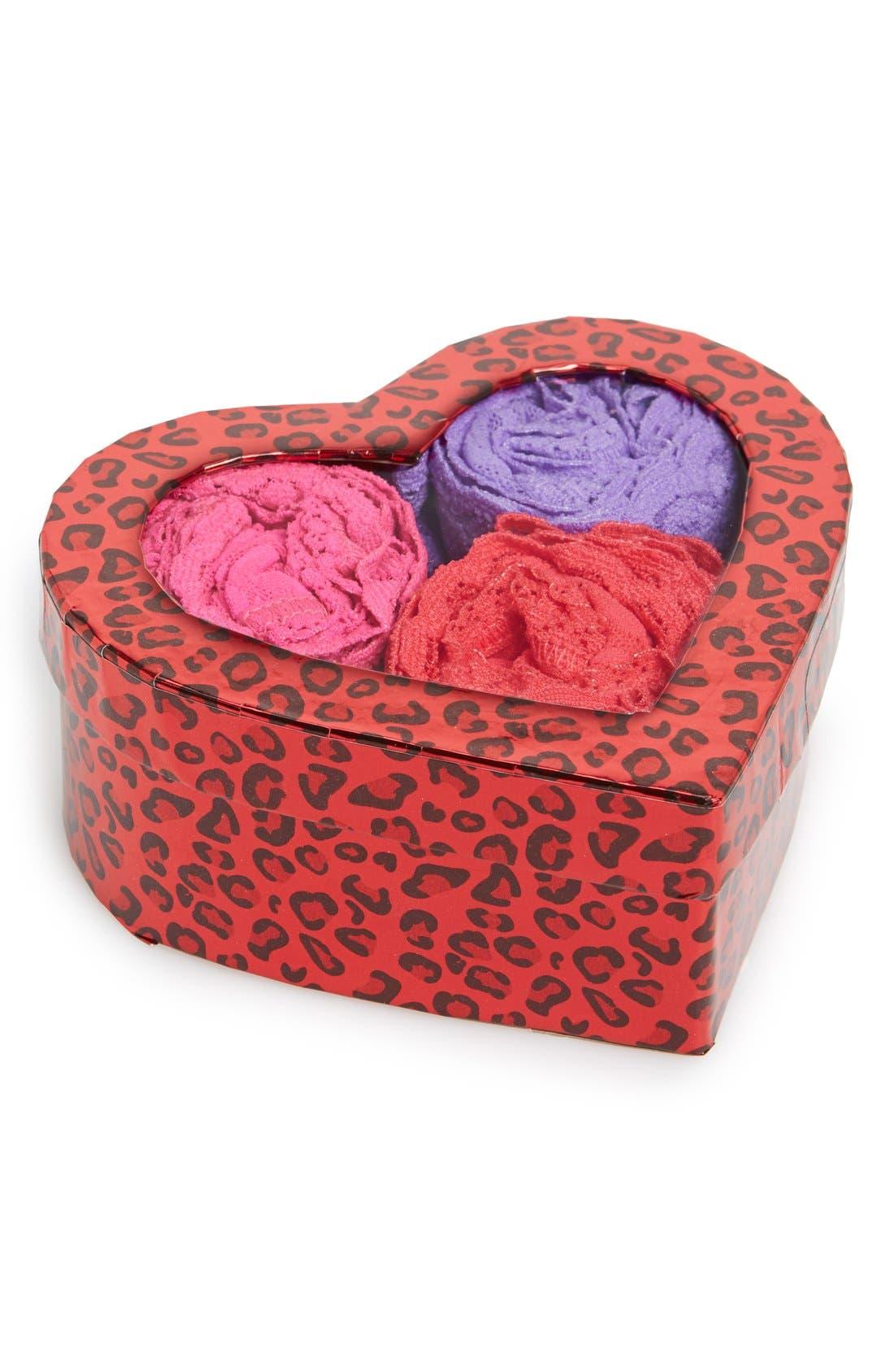 'Hugs N Kisses' Boxed Original Rise Thongs (3-Pack),                             Main thumbnail 3, color,