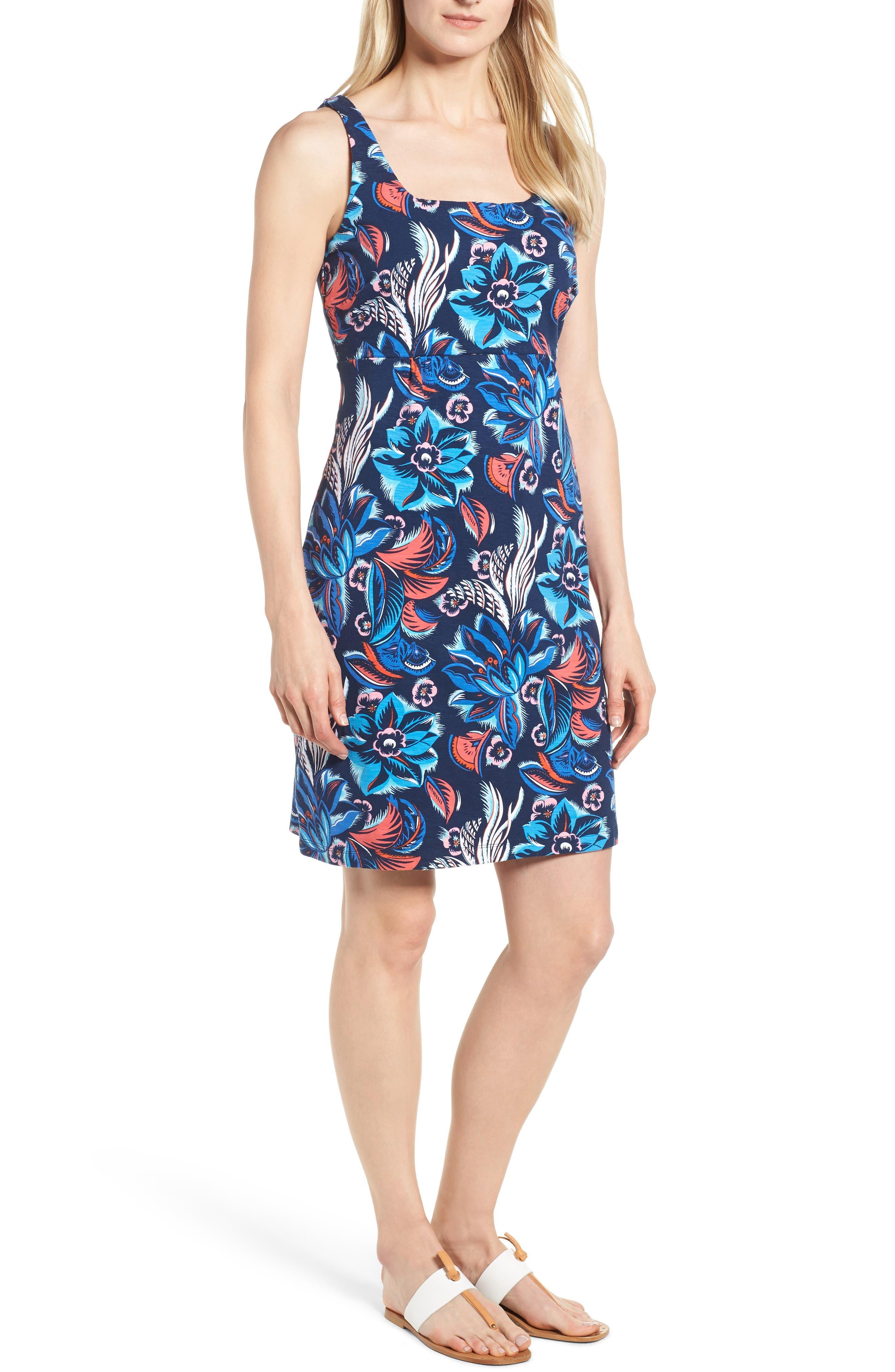 Bohemian Blossoms Tank Dress,                         Main,                         color, OCEAN DEEP