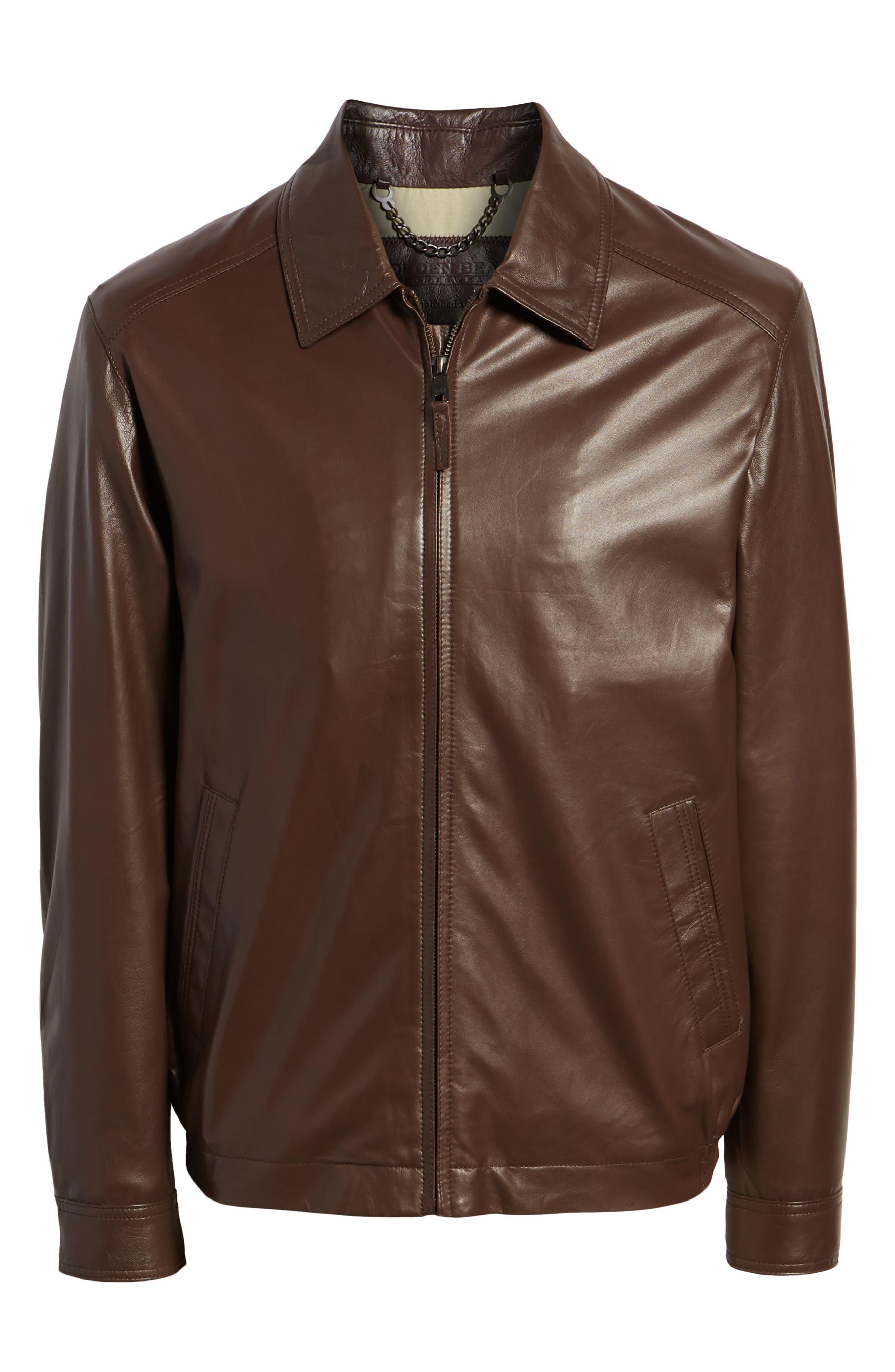 GOLDEN BEAR,                             The Bartlett Leather Jacket,                             Alternate thumbnail 6, color,                             DARK BROWN