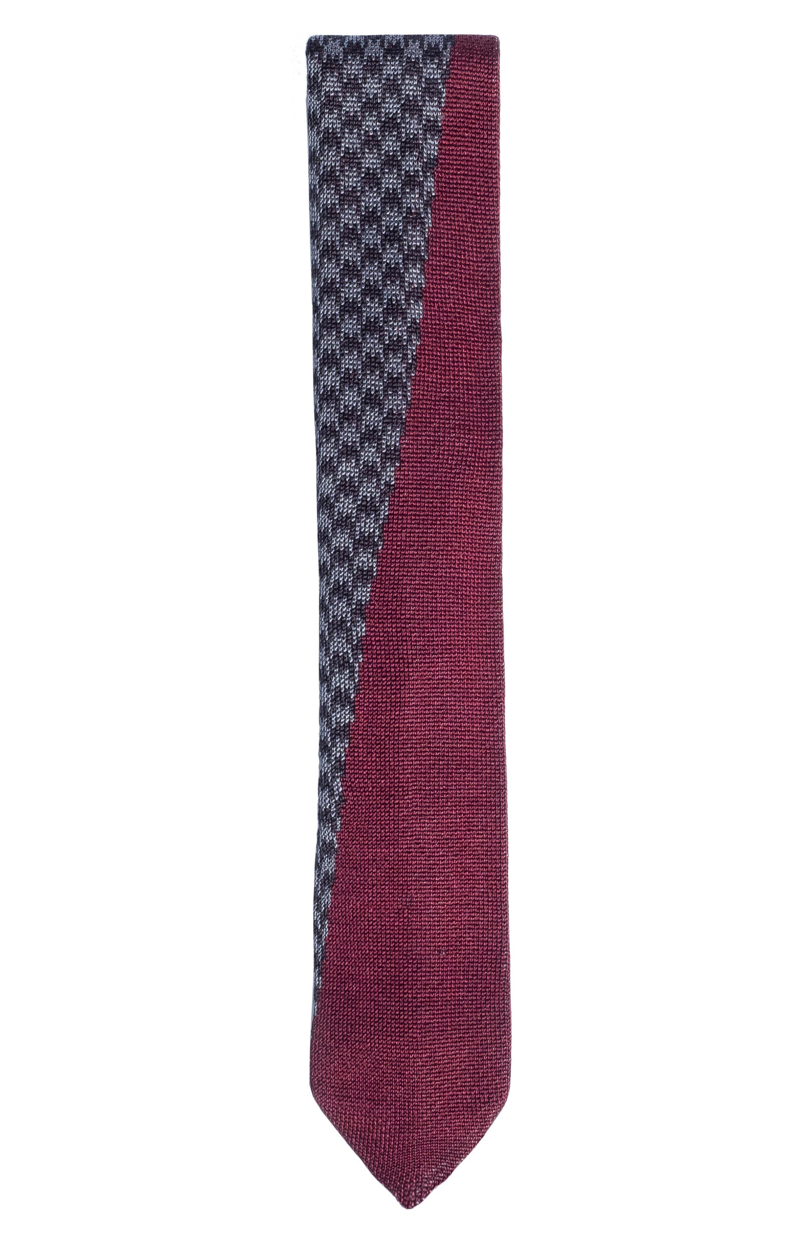 Knit Silk Tie,                         Main,                         color, GREY/ RED