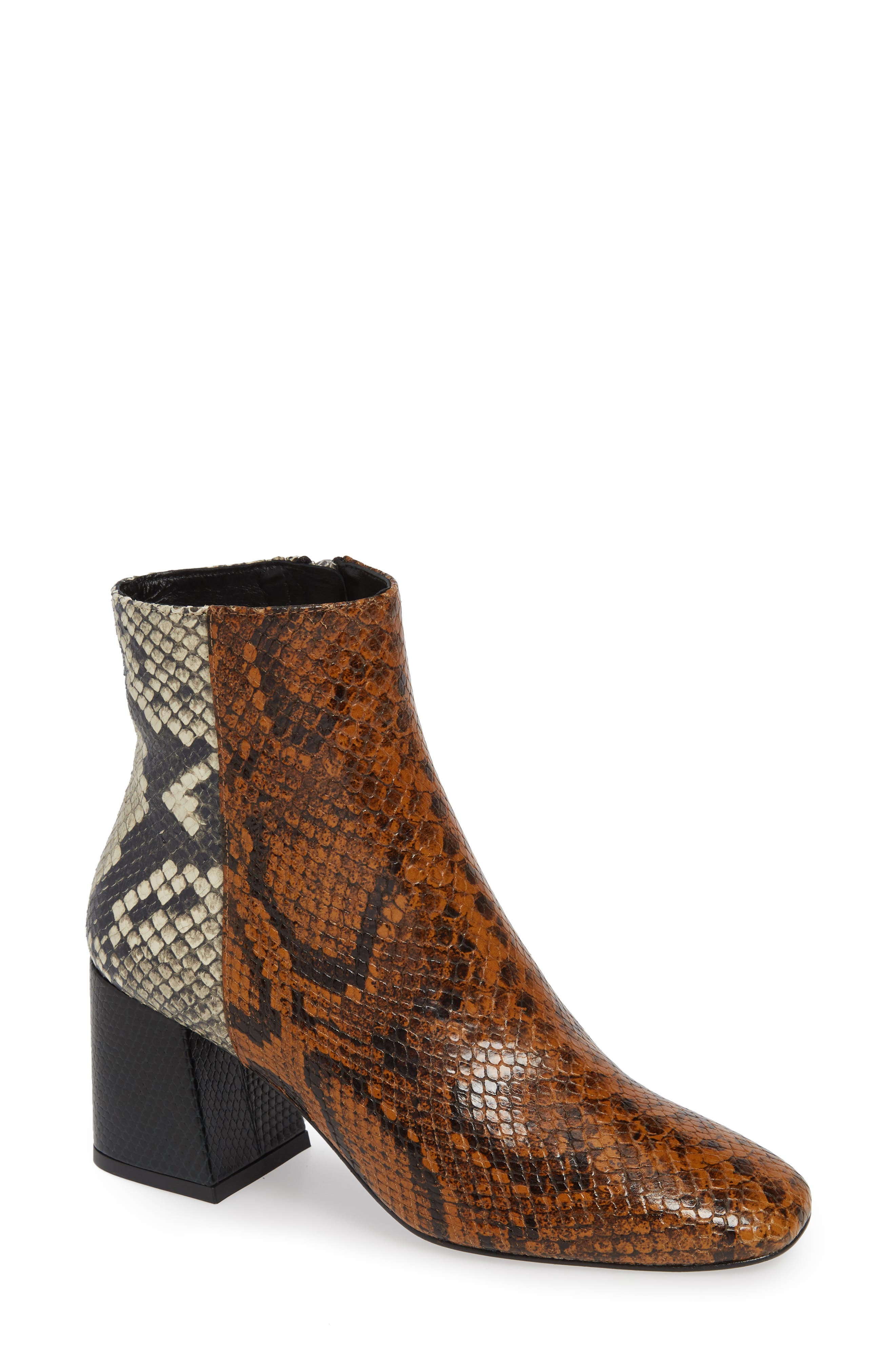 FREDA SALVADOR Charm Reptile Embossed Bootie in Brown Snake Embossed Leather