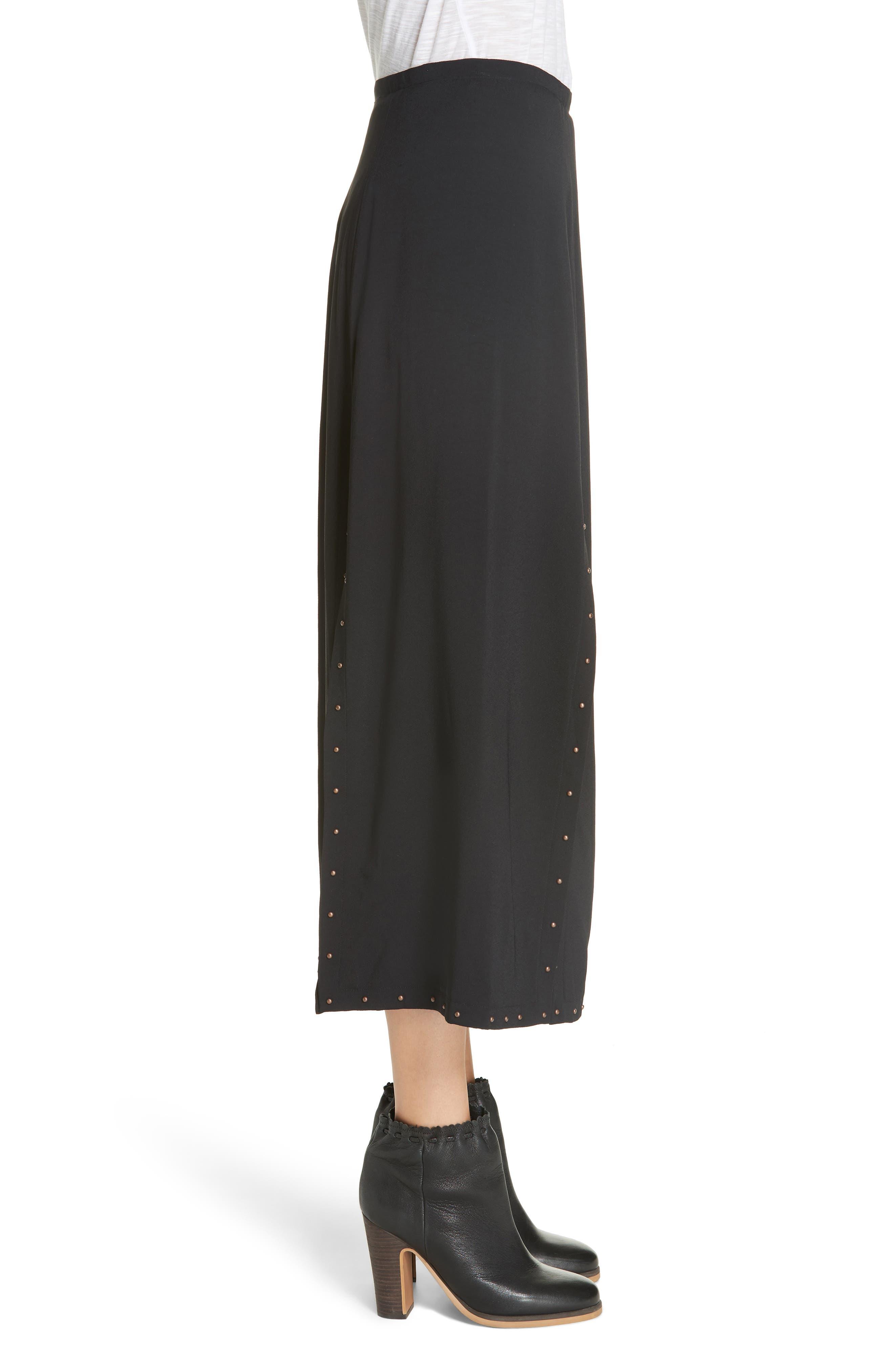 Slit Detail Midi Skirt,                             Alternate thumbnail 3, color,                             BLACK