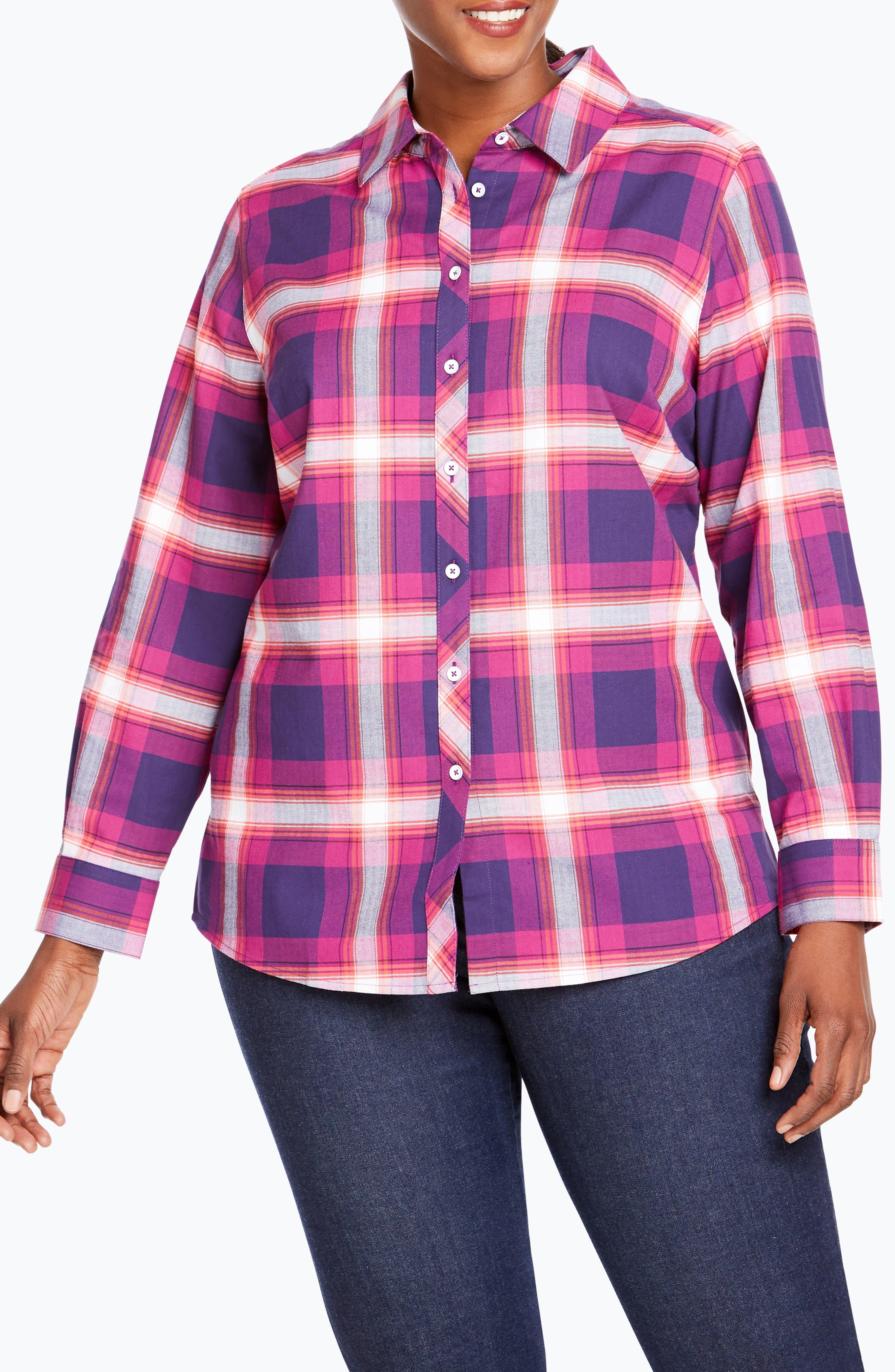 Trisha in Fall Tartan Plaid Shirt,                             Main thumbnail 1, color,                             650