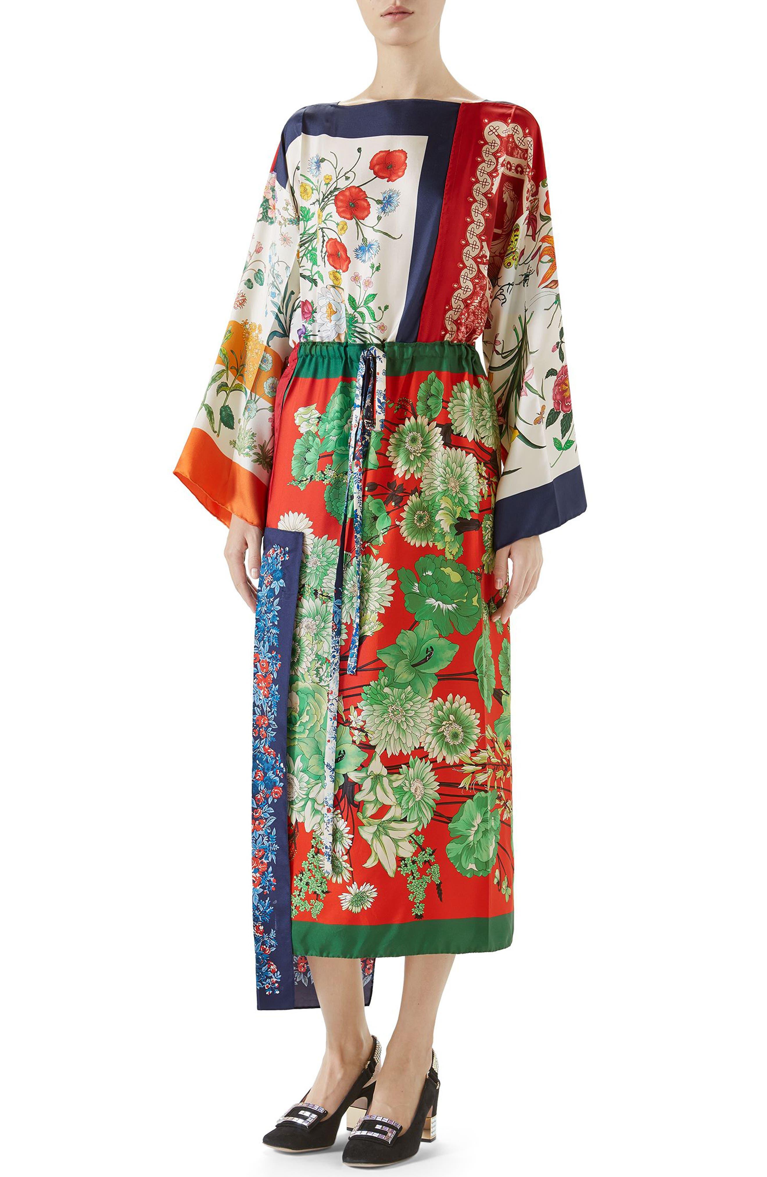 Patchwork Print Asymmetrical Silk Dress,                             Main thumbnail 1, color,                             412