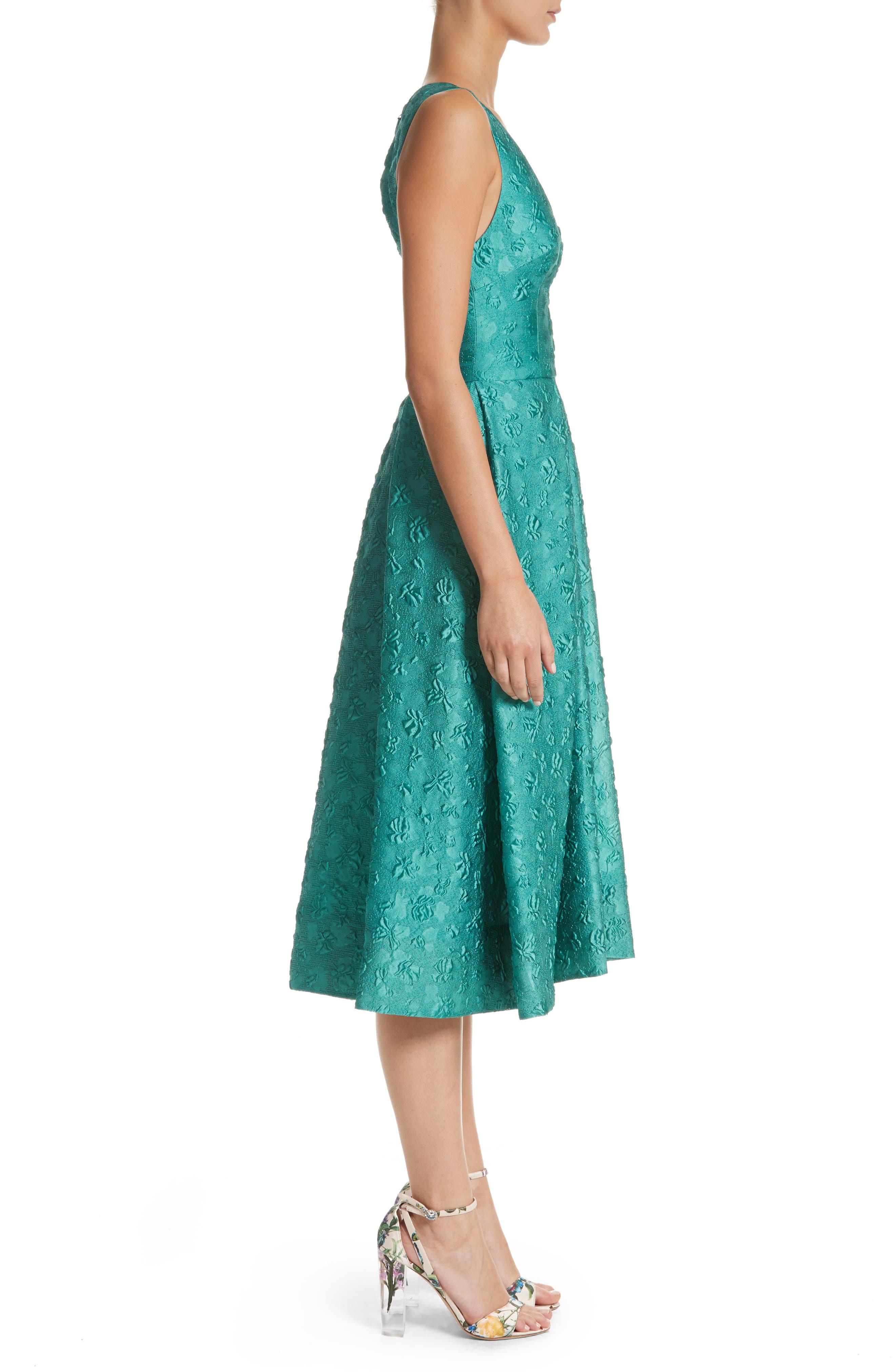 Matelassé A-Line Dress,                             Alternate thumbnail 3, color,                             440