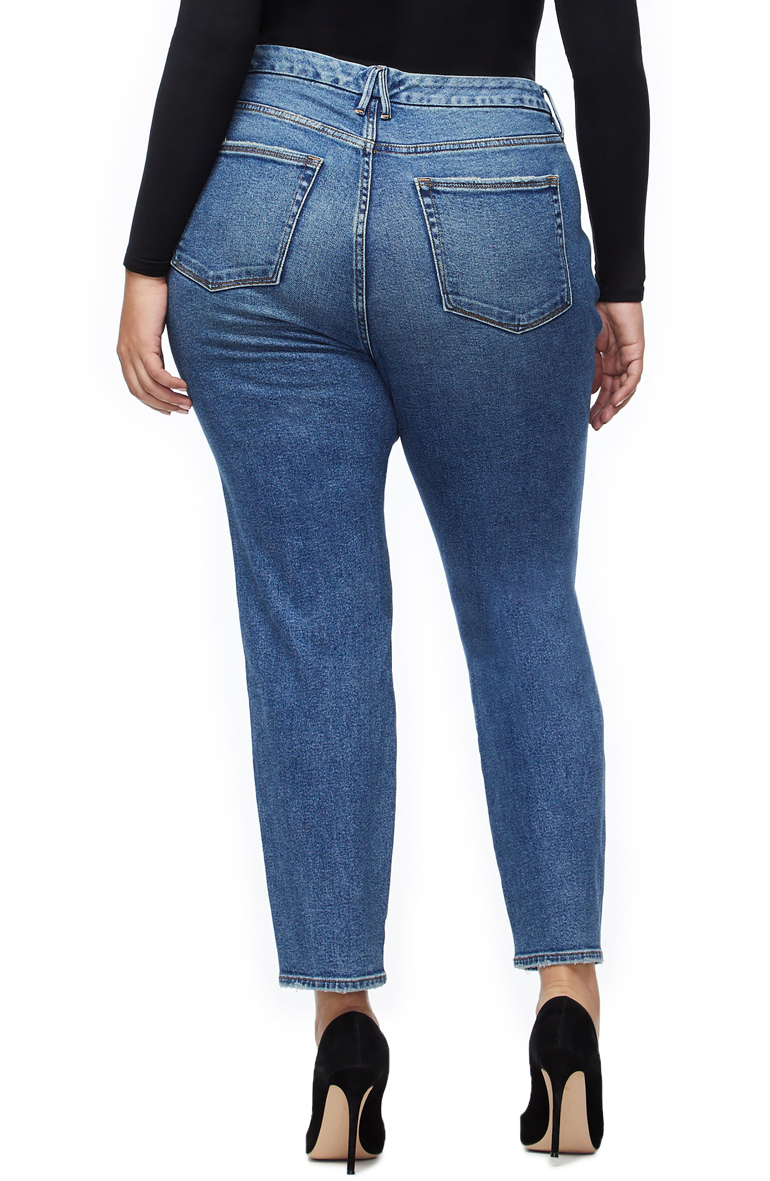 Twist Seam Crop Straight Leg Jeans,                             Alternate thumbnail 3, color,                             BLUE214
