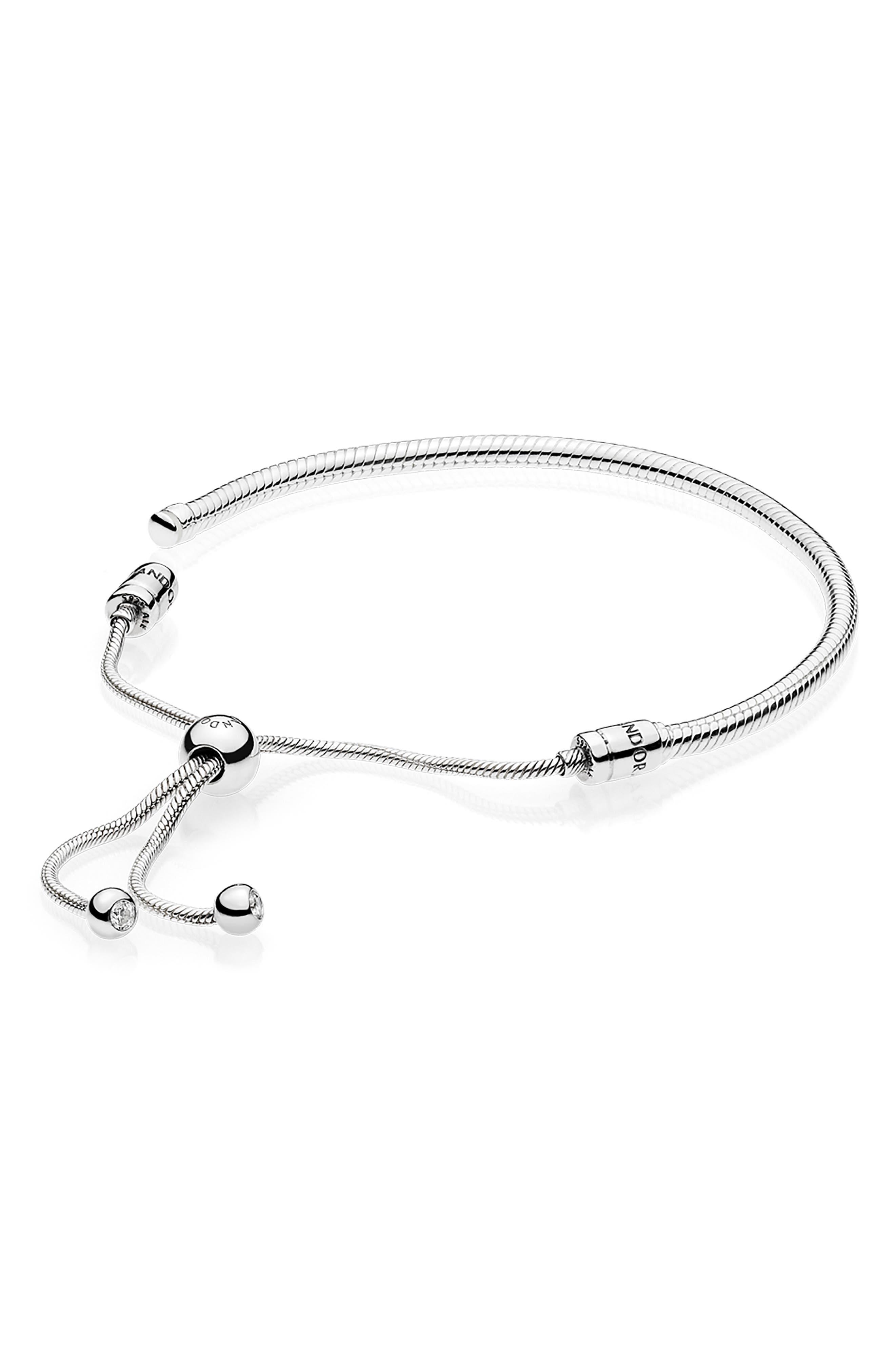 PANDORA,                             Slider Charm Bracelet,                             Alternate thumbnail 2, color,                             SILVER