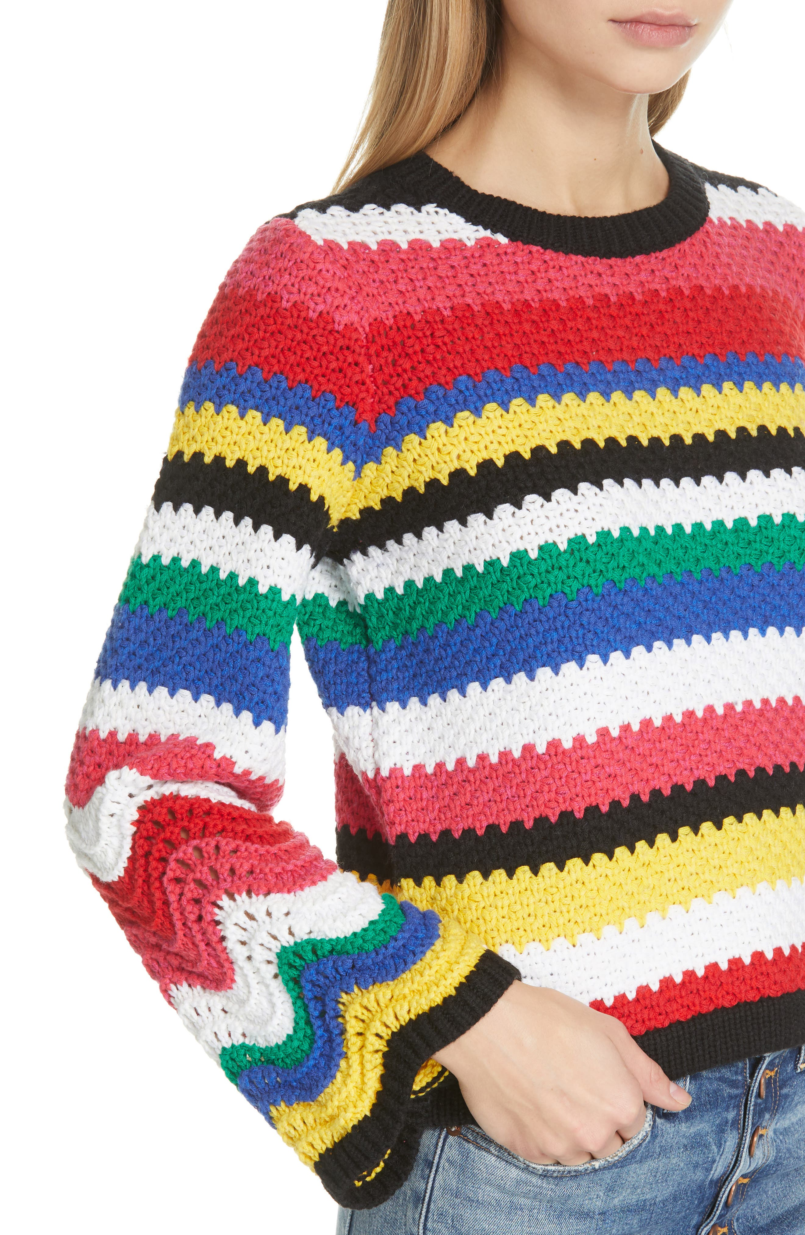 ALICE + OLIVIA,                             Alivia Stripe Bell Sleeve Cotton Blend Sweater,                             Alternate thumbnail 4, color,                             MULTI