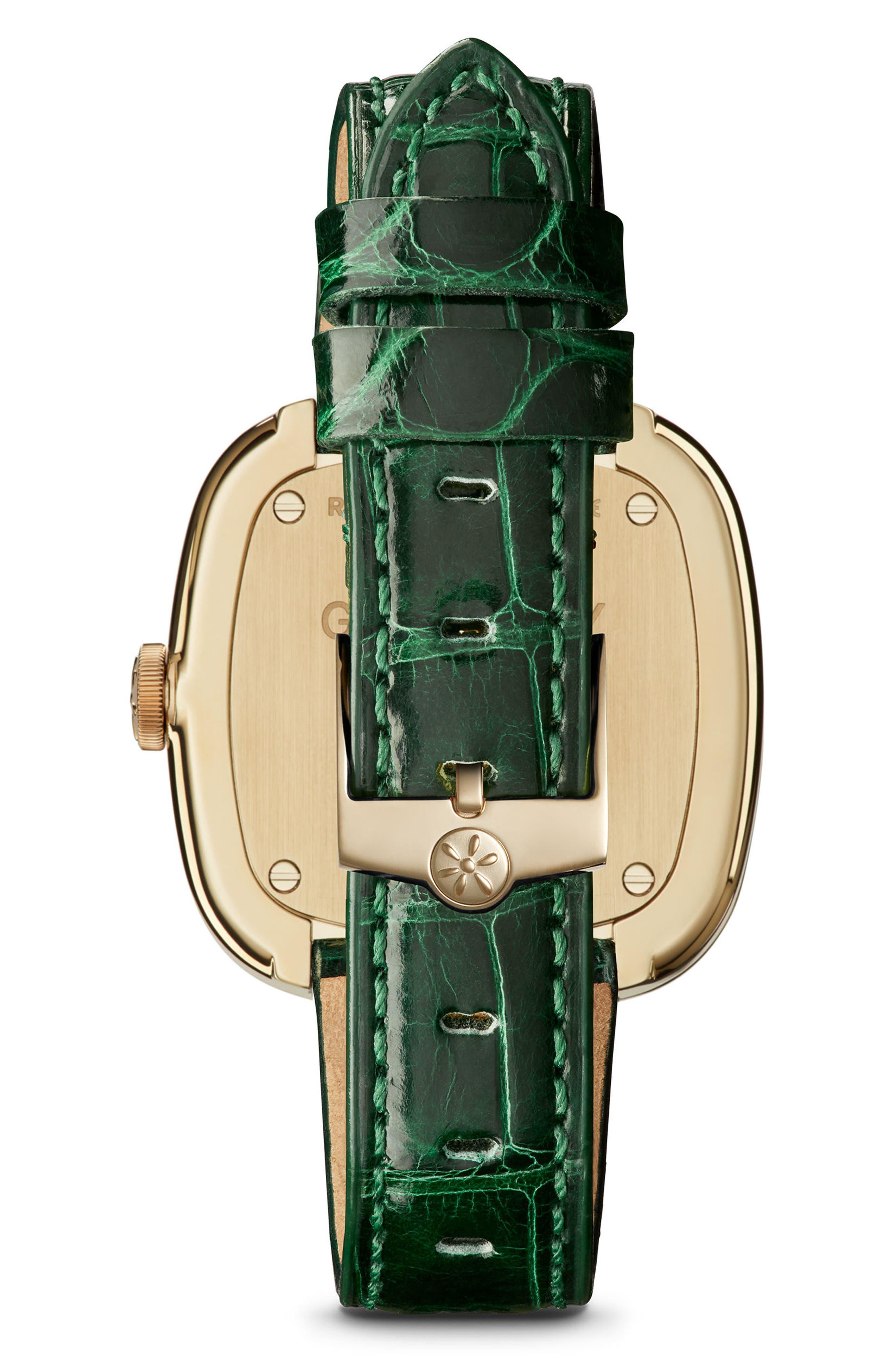 The Eppie Sneed Mini Lizardskin Strap Watch, 32mm,                             Alternate thumbnail 2, color,                             GREEN/ MOP MALACHITE/ GOLD