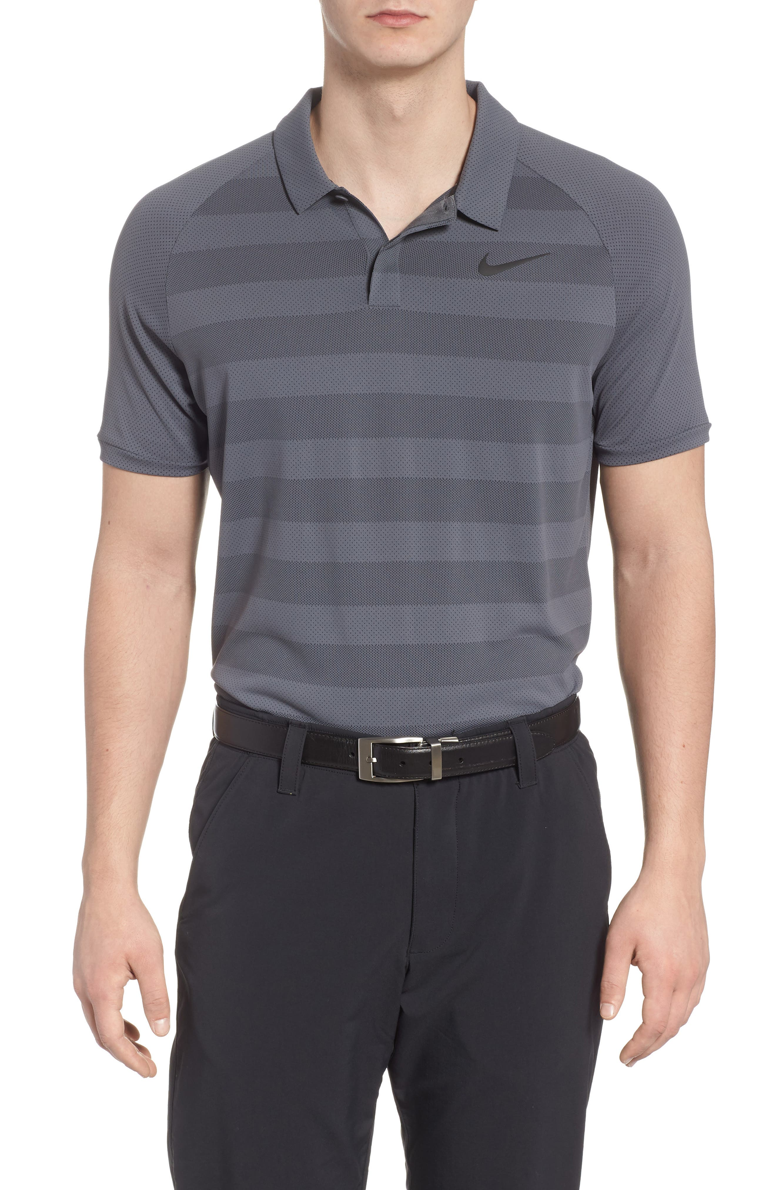 NIKE Stripe Polo Shirt, Main, color, 021