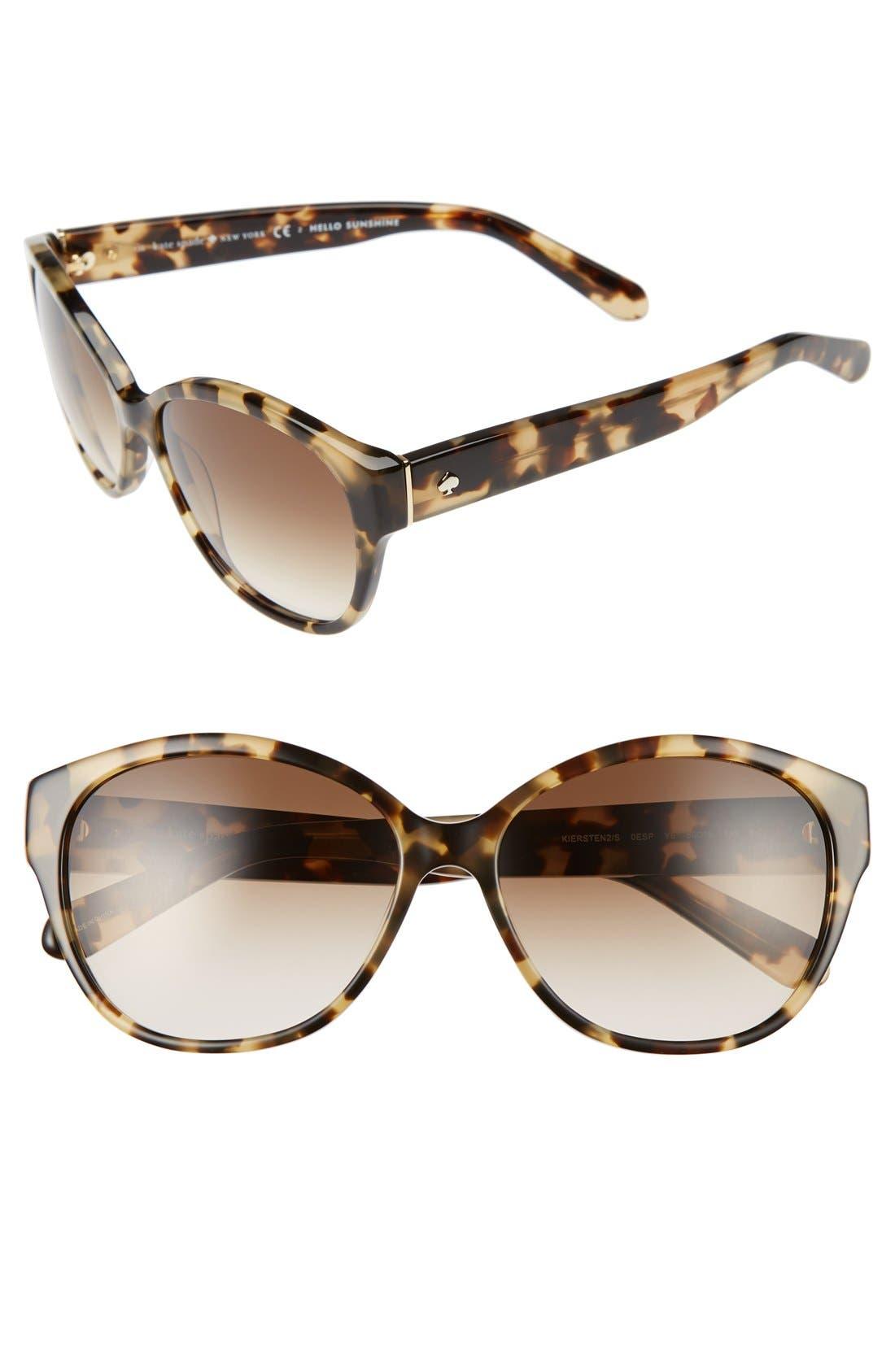 'kiersten' 56mm cat eye sunglasses,                         Main,                         color, CAMEL TORTOISE