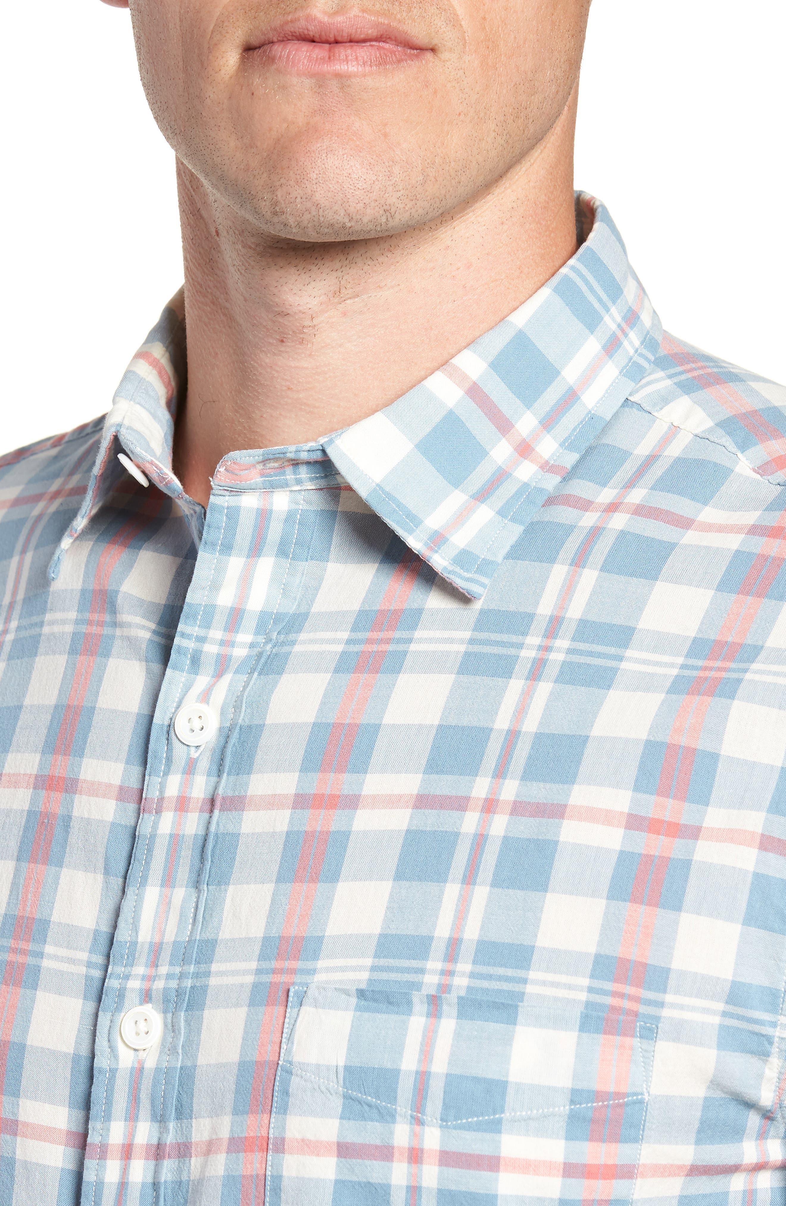 Ventura Plaid Sport Shirt,                             Alternate thumbnail 4, color,                             WASHED BLUE CREAM