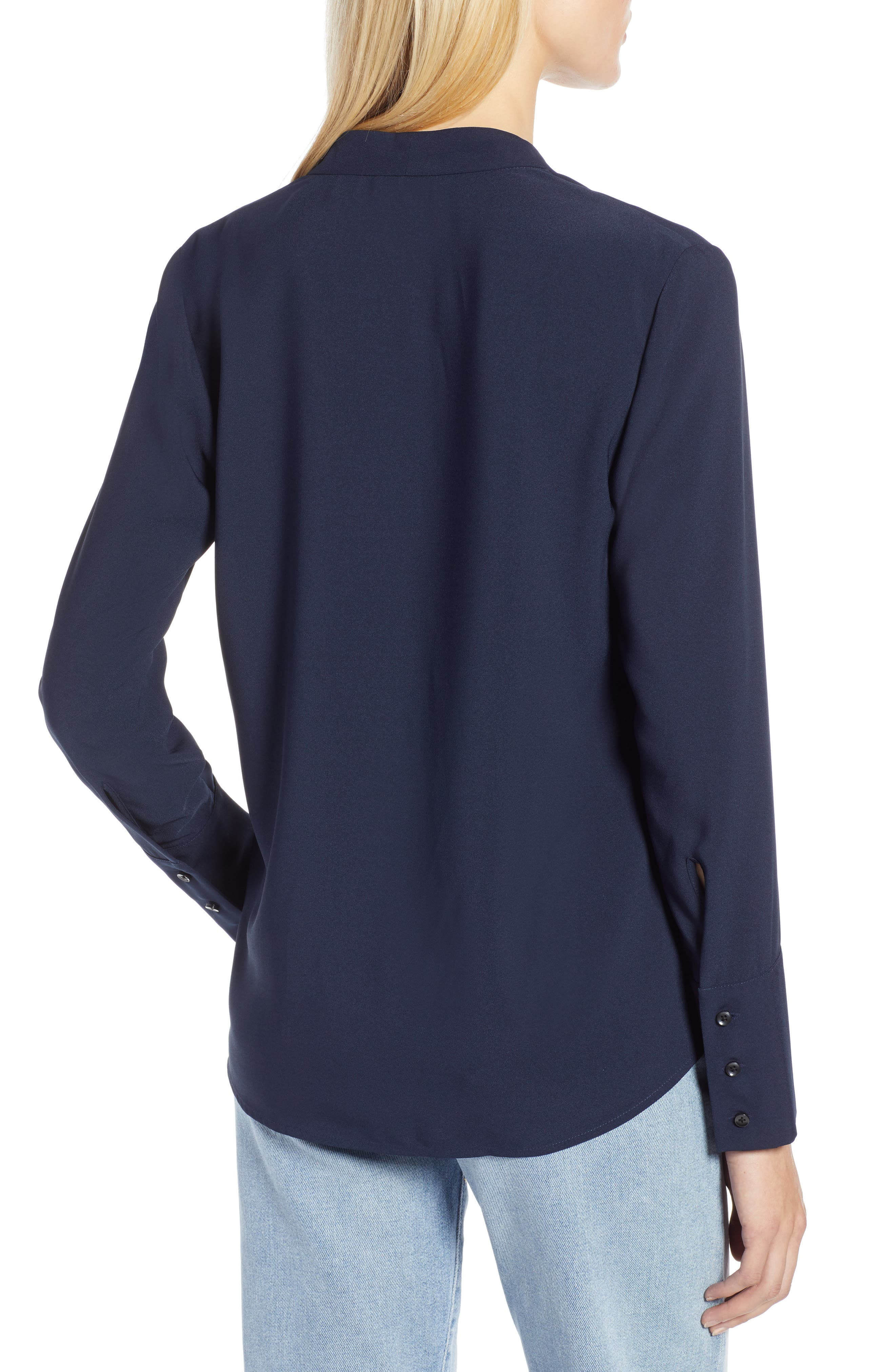 x Atlantic-Pacific Wrap Blouse,                             Alternate thumbnail 2, color,                             NAVY BLAZER