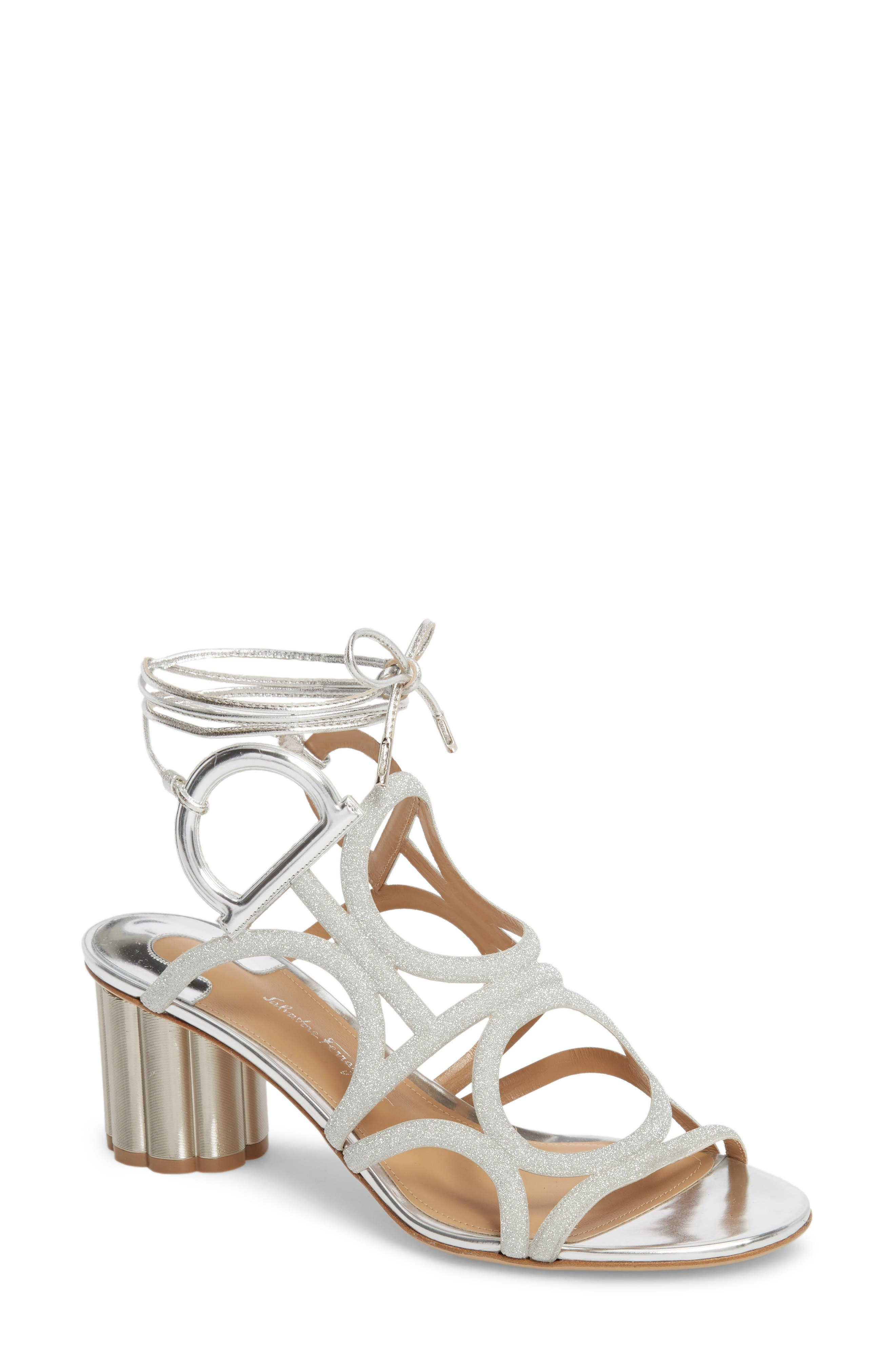 Vinci Lace-Up Block Heel Sandal,                             Main thumbnail 1, color,                             SILVER