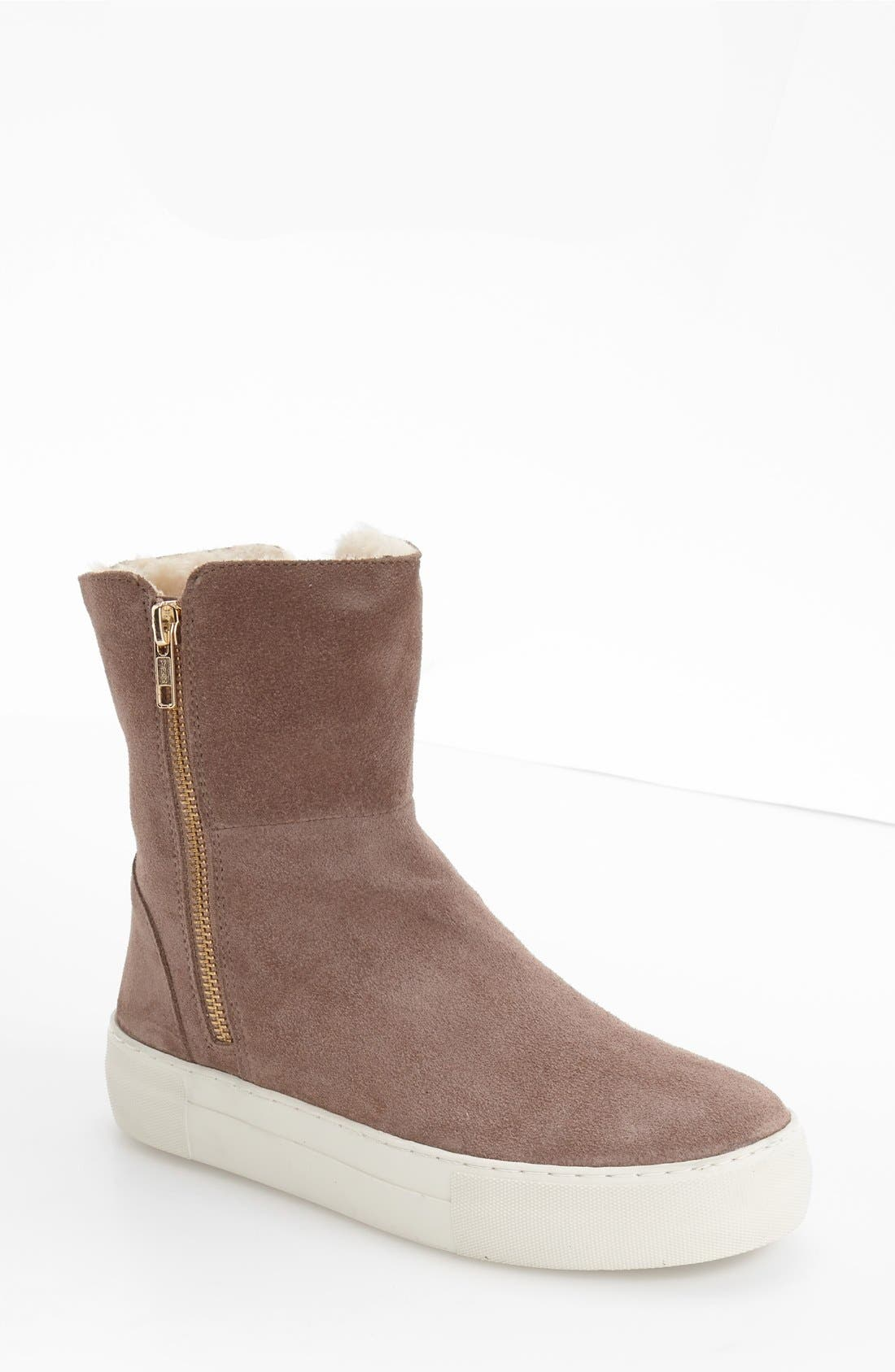 JSLIDES Allie Faux Fur Lined Platform Boot in Taupe