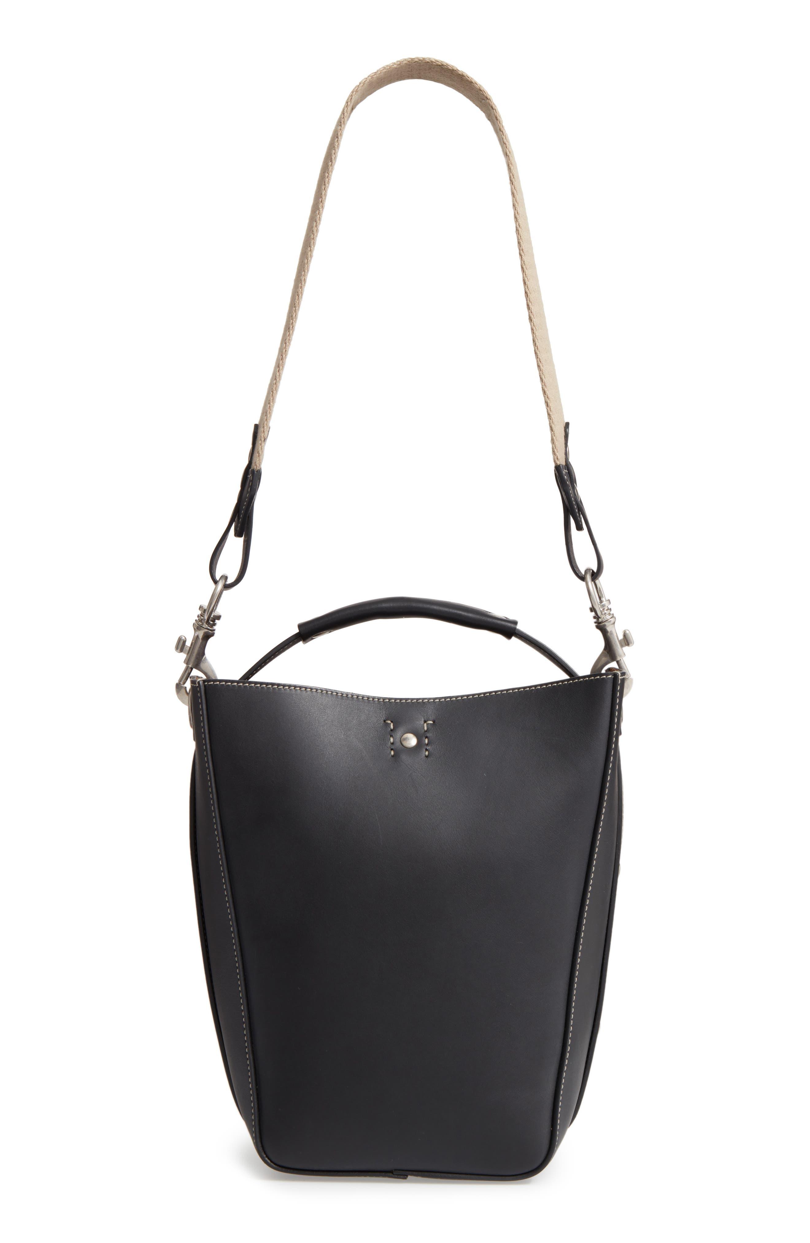 Starlet Leather Bucket Bag,                             Alternate thumbnail 3, color,                             BLACK