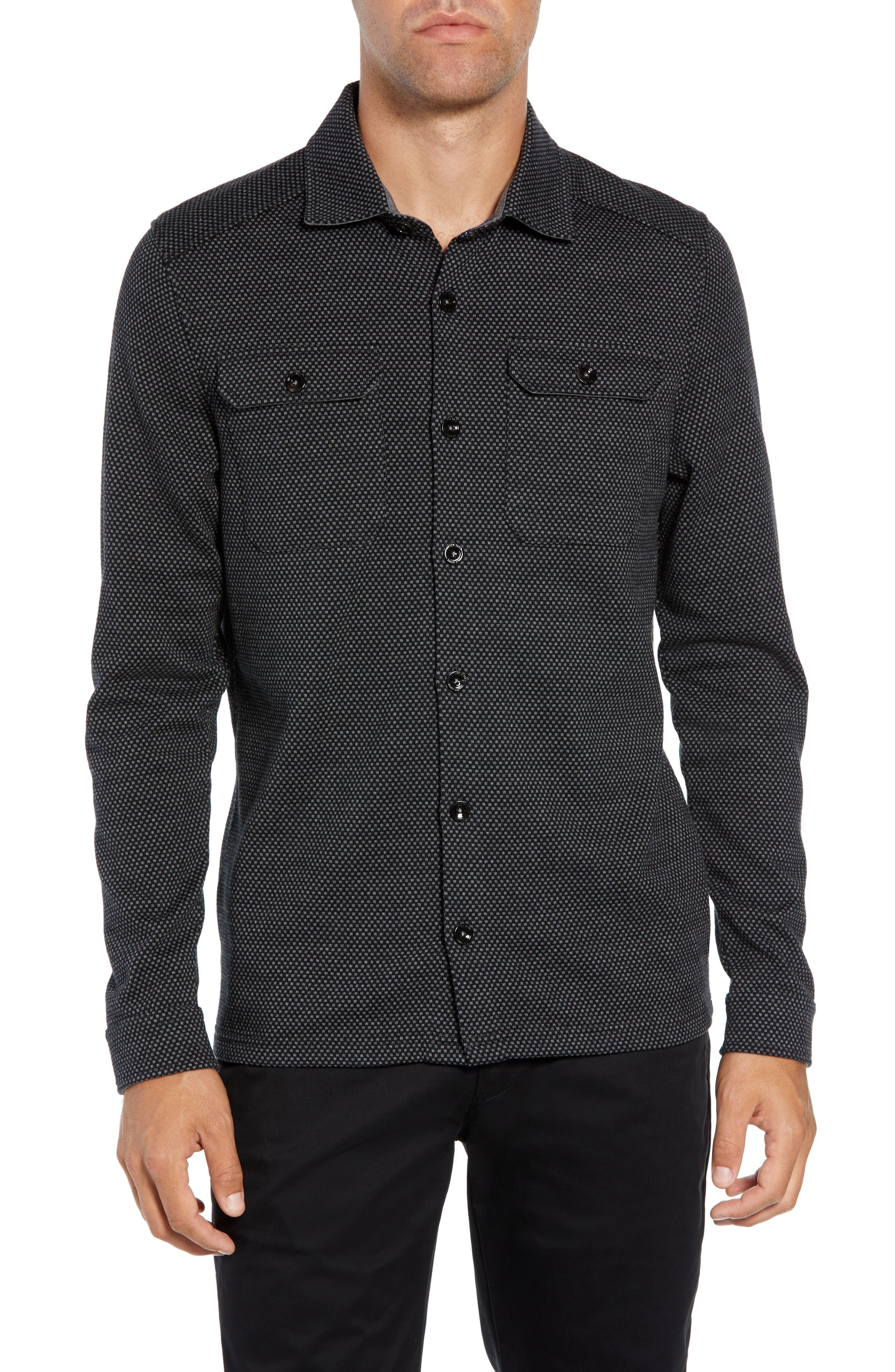 Toolow Trim Fit Solid Sport Shirt,                         Main,                         color, CHARCOAL