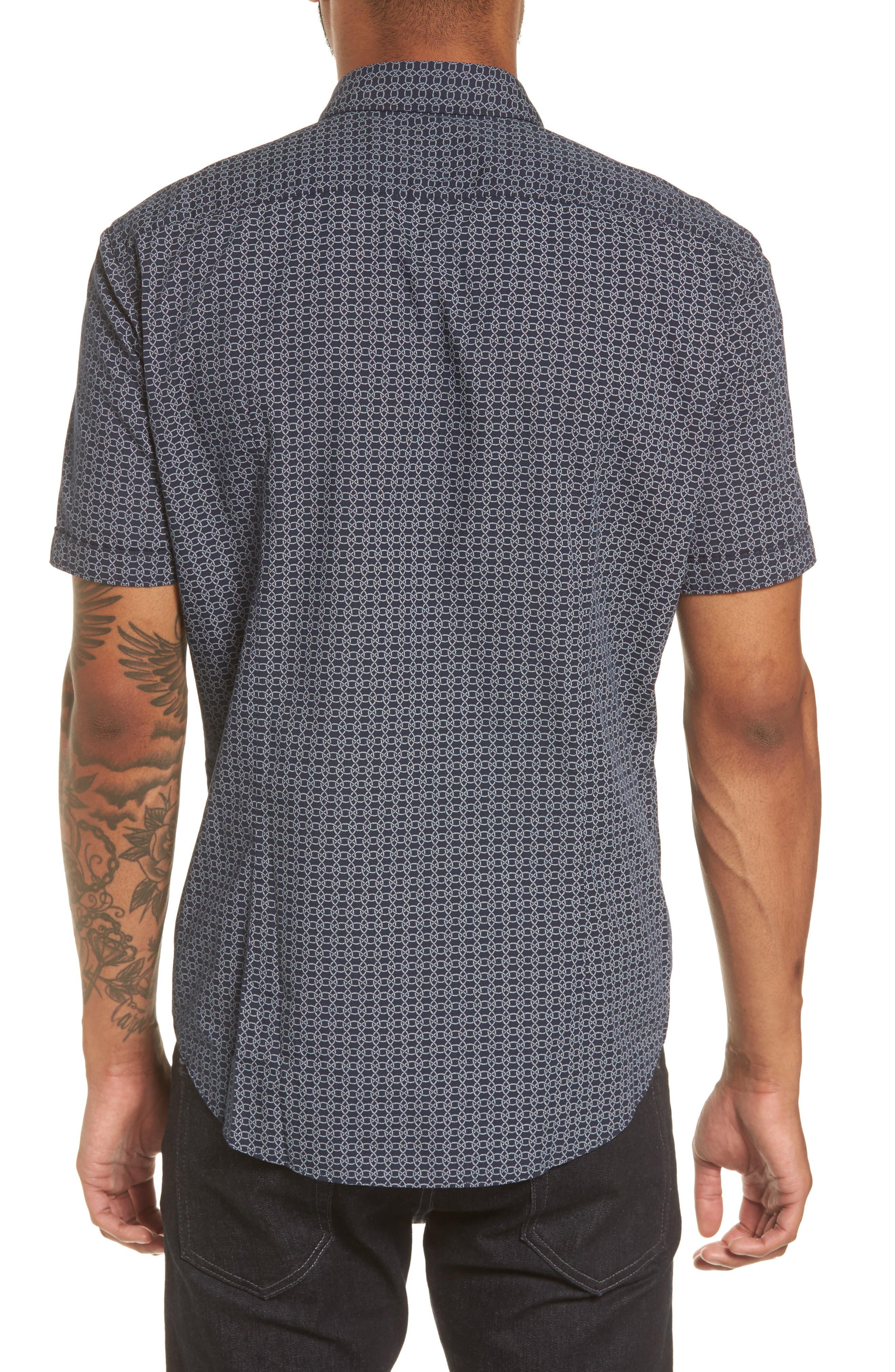 Robb Sharp Fit Knot Print Sport Shirt,                             Alternate thumbnail 2, color,                             410