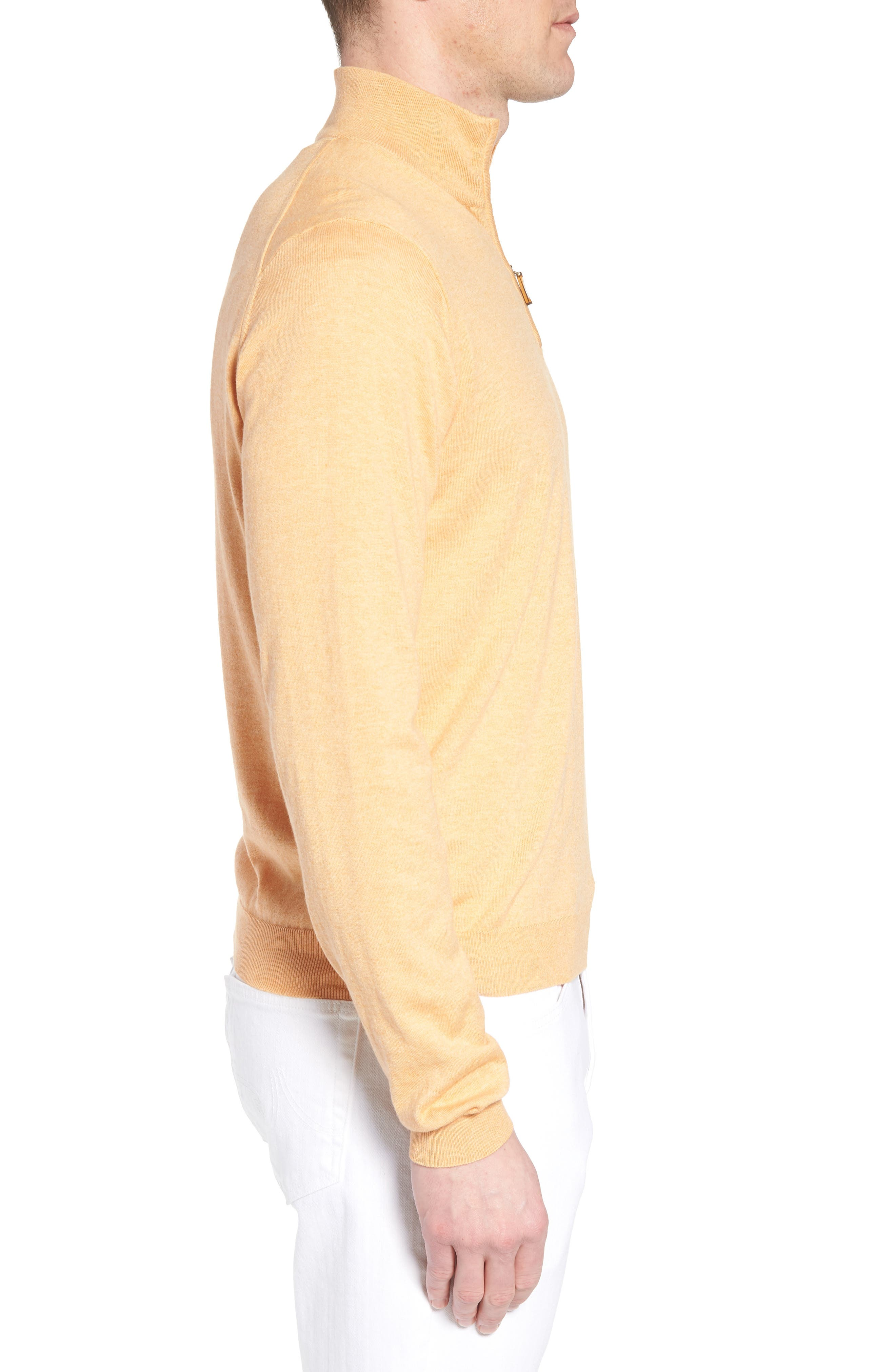 Cotton & Silk Quarter Zip Pullover,                             Alternate thumbnail 3, color,                             830