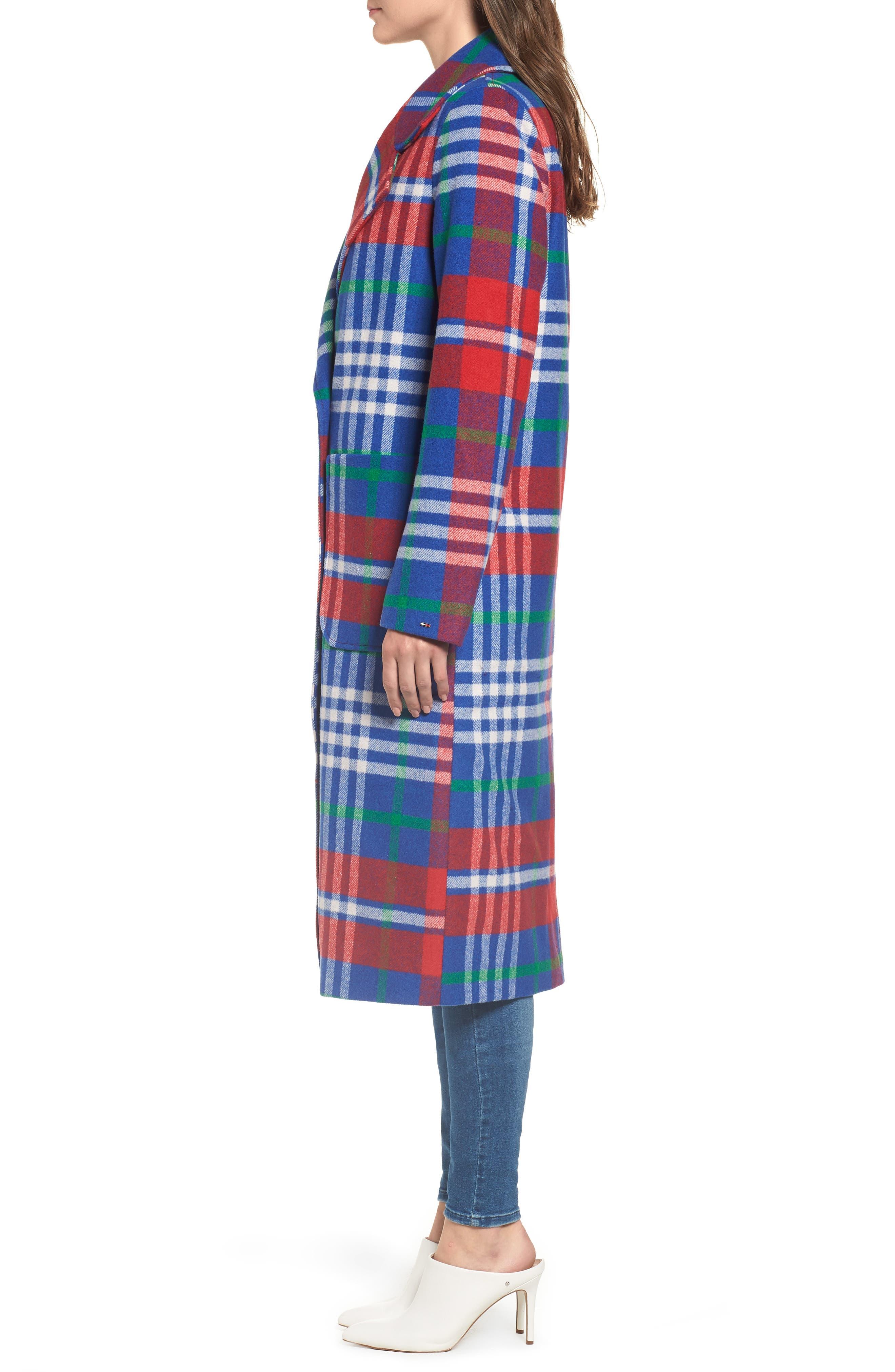 Long Plaid Coat,                             Alternate thumbnail 3, color,                             605