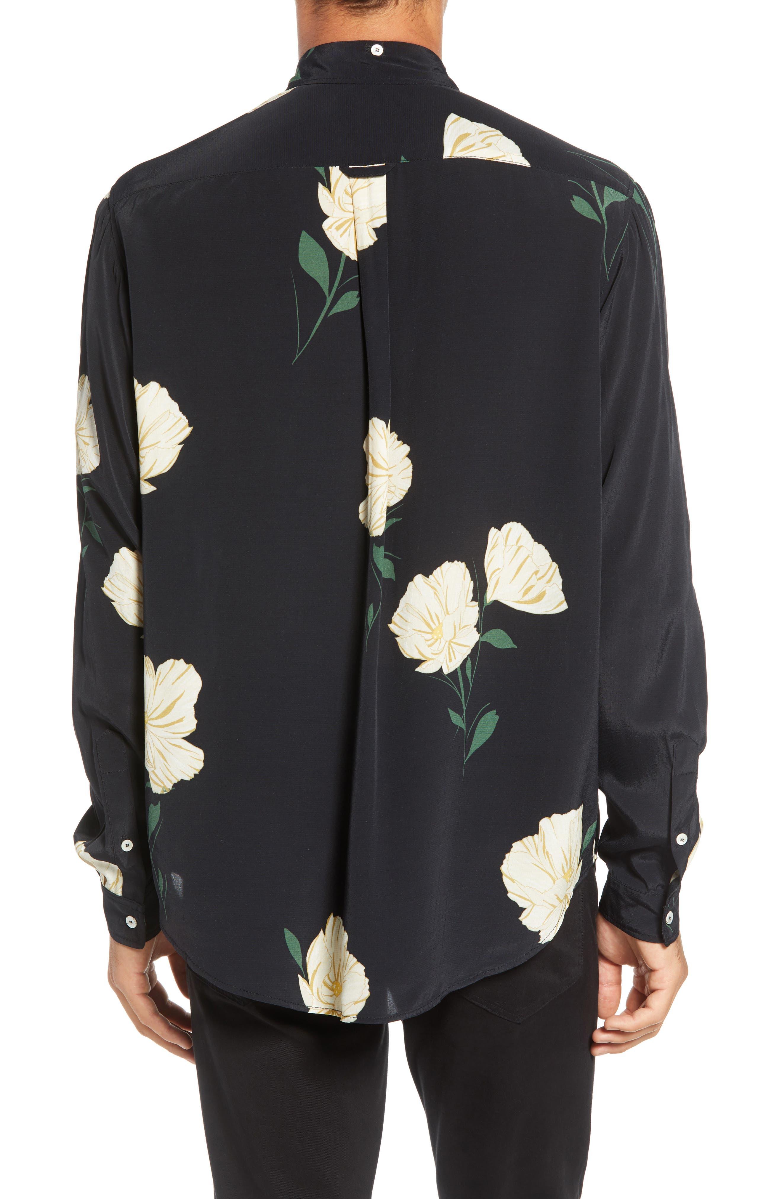 Print Sport Shirt,                             Alternate thumbnail 3, color,                             WHITE FLOWER PRINT