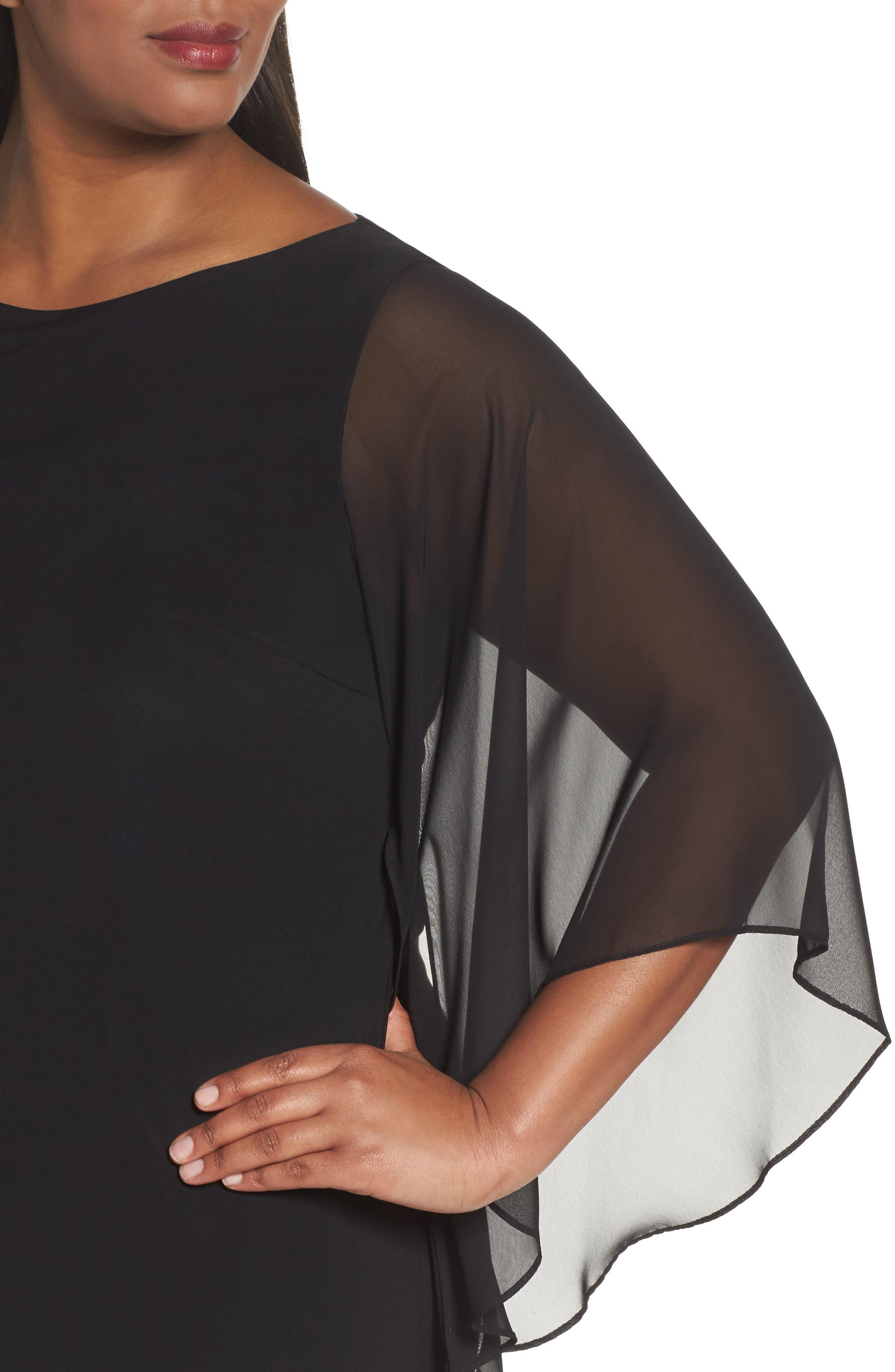 Beaded Hem Short Shift Dress,                             Alternate thumbnail 6, color,                             BLACK IVORY