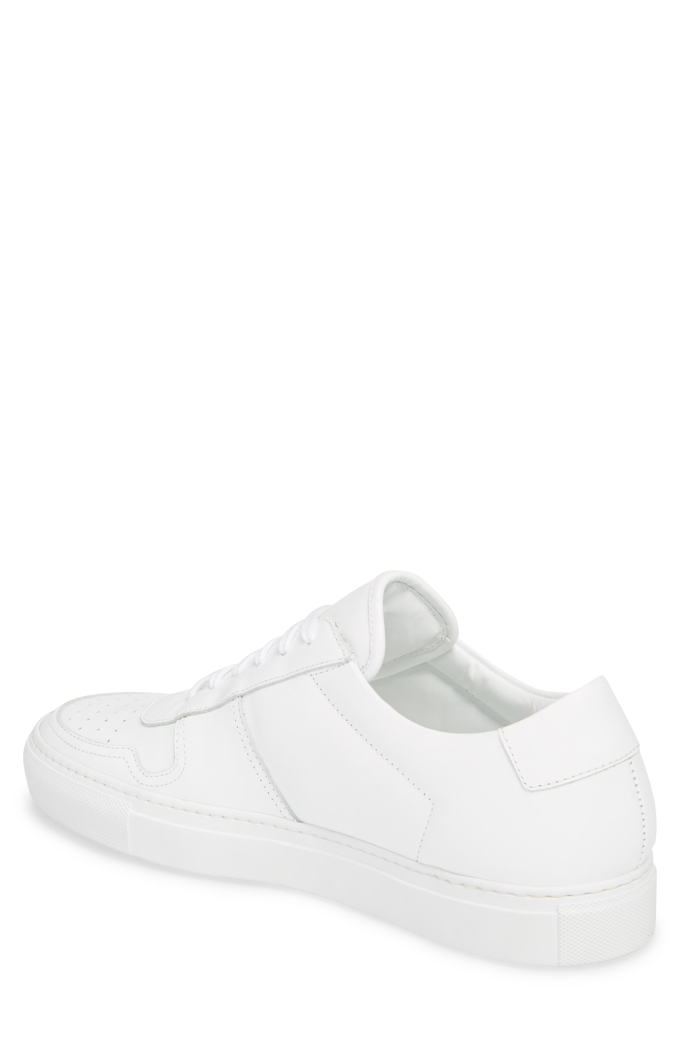 Bball Low Top Sneaker,                             Alternate thumbnail 2, color,                             WHITE LEATHER