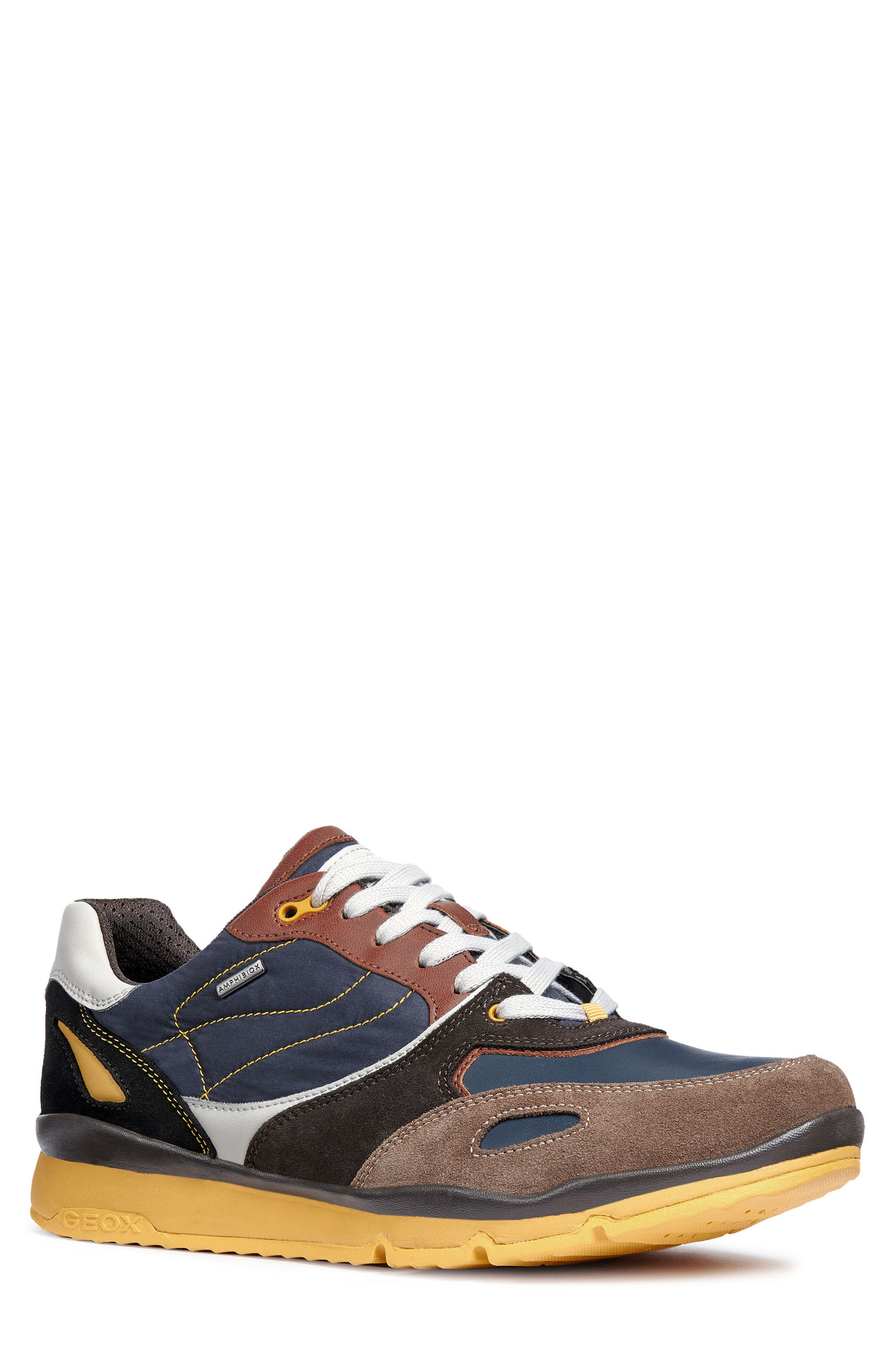 Sandford ABX 1 Waterproof Low Top Sneaker,                         Main,                         color, CHOCOLATE/ NAVY LEATHER