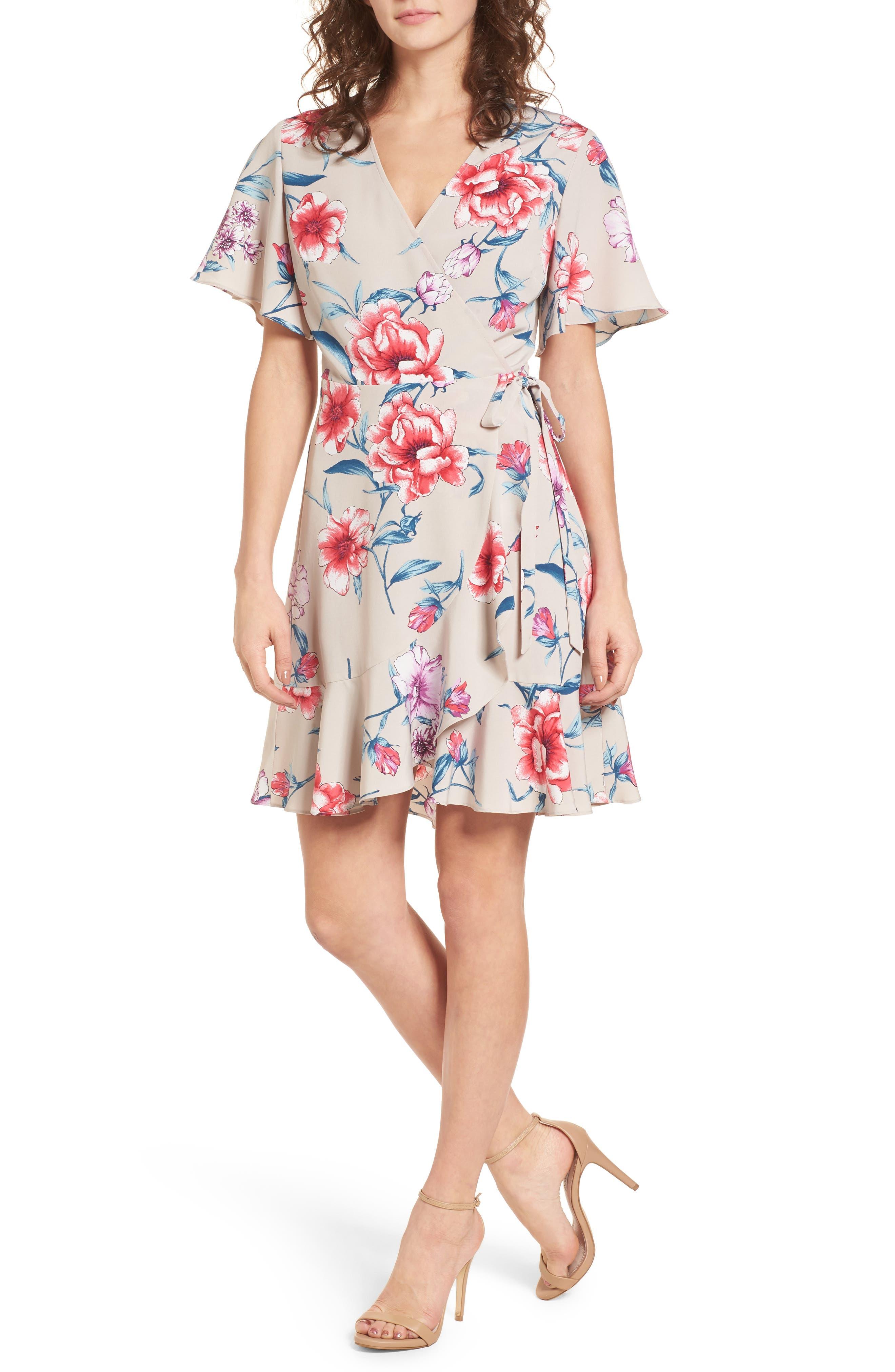 Lucy Floral Wrap Dress,                             Main thumbnail 2, color,