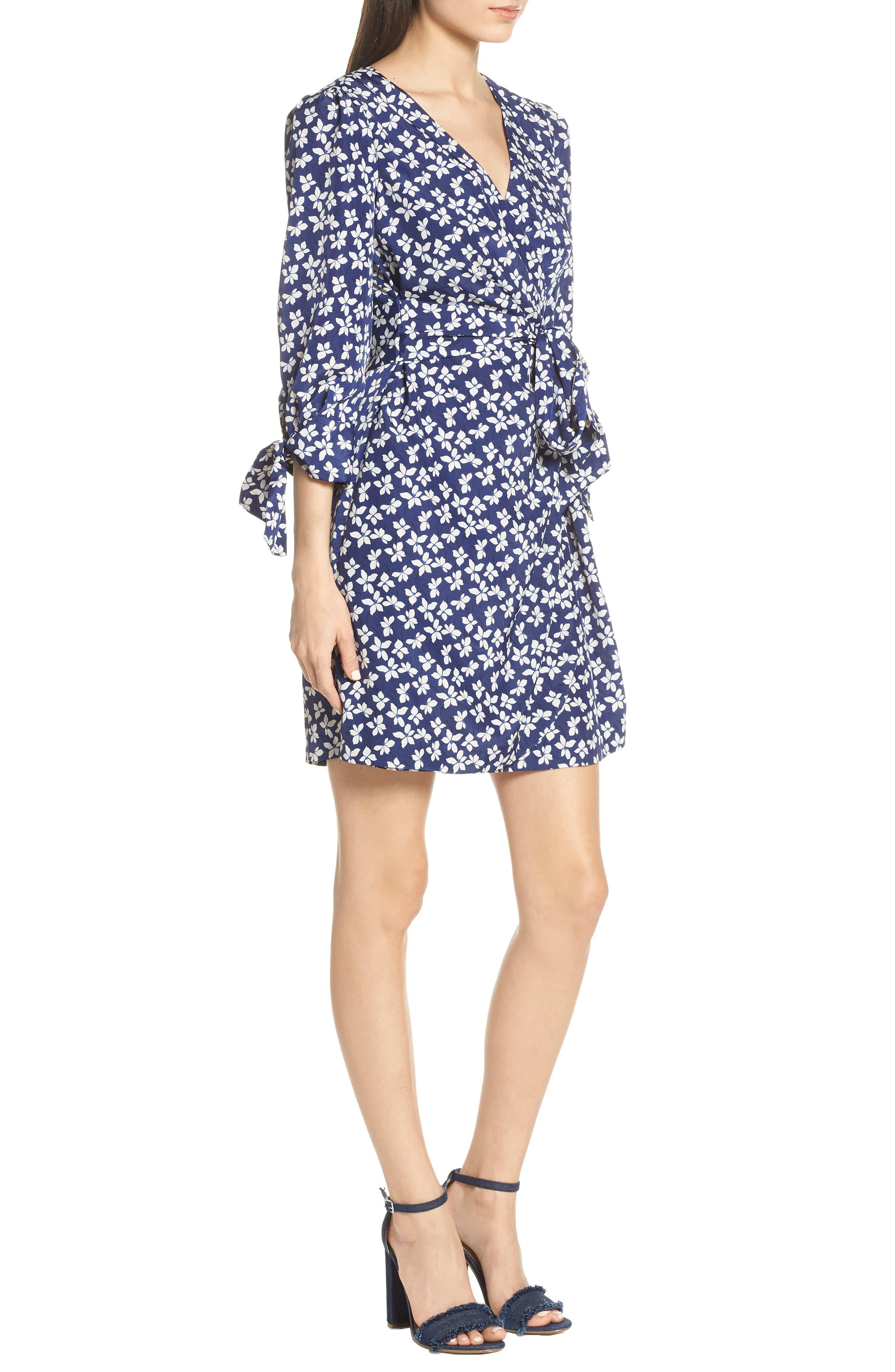 CHELSEA28,                             Floral Print Faux Wrap Dress,                             Alternate thumbnail 4, color,                             NAVY