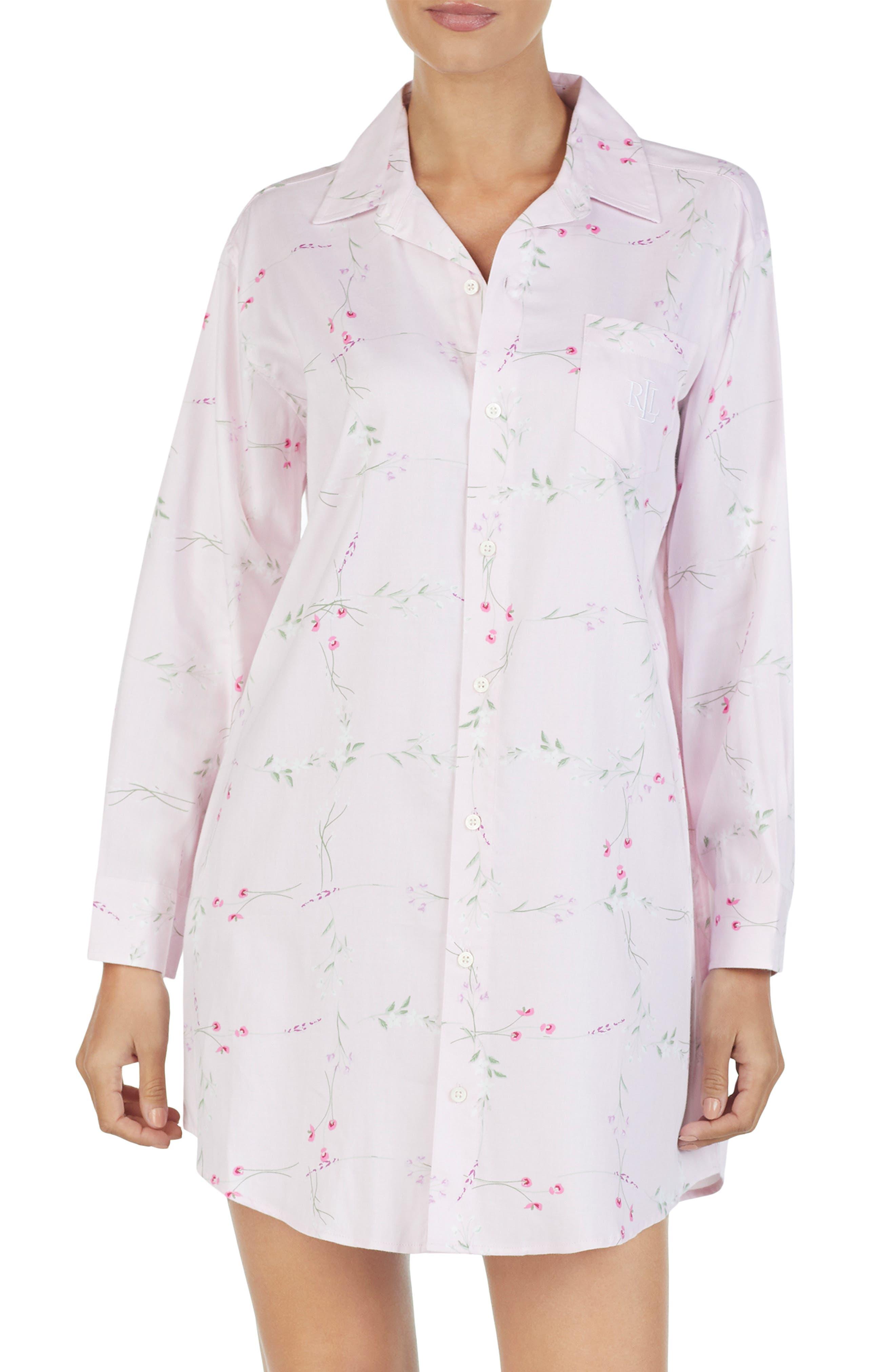 Lauren Ralph Lauren His Floral Print Sleep Shirt, Pink