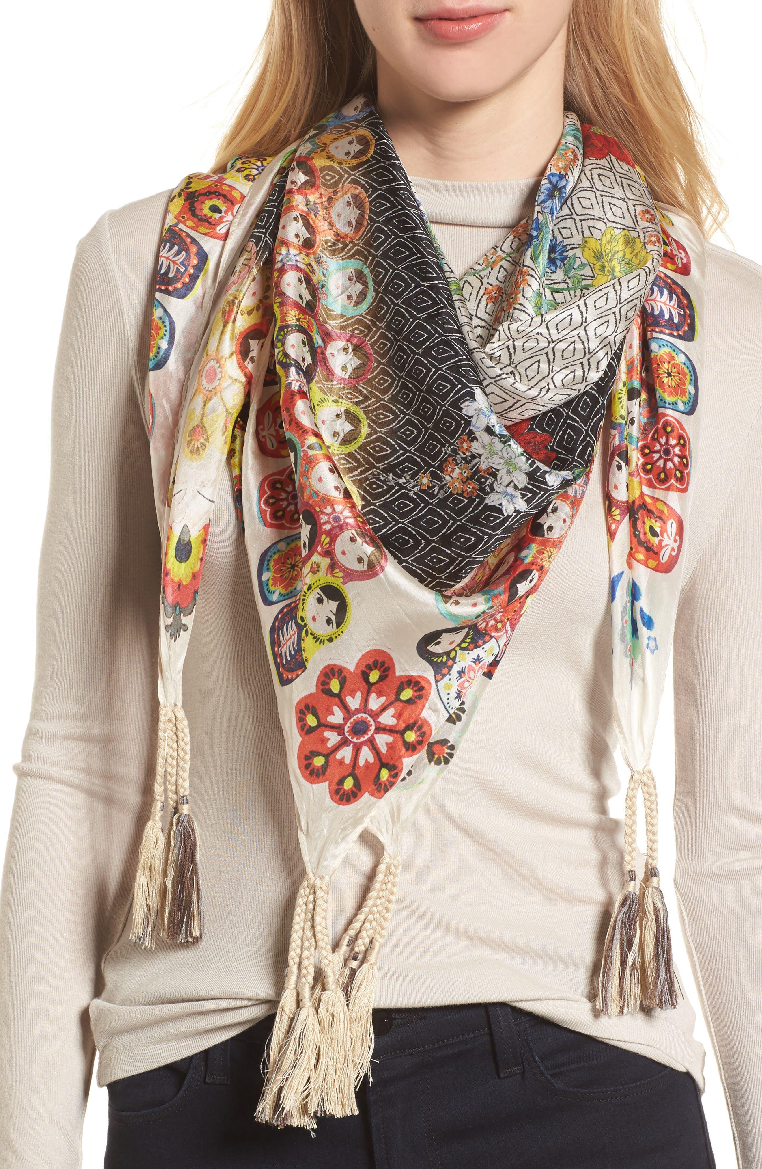 Babushka Silk Scarf,                         Main,                         color, 030