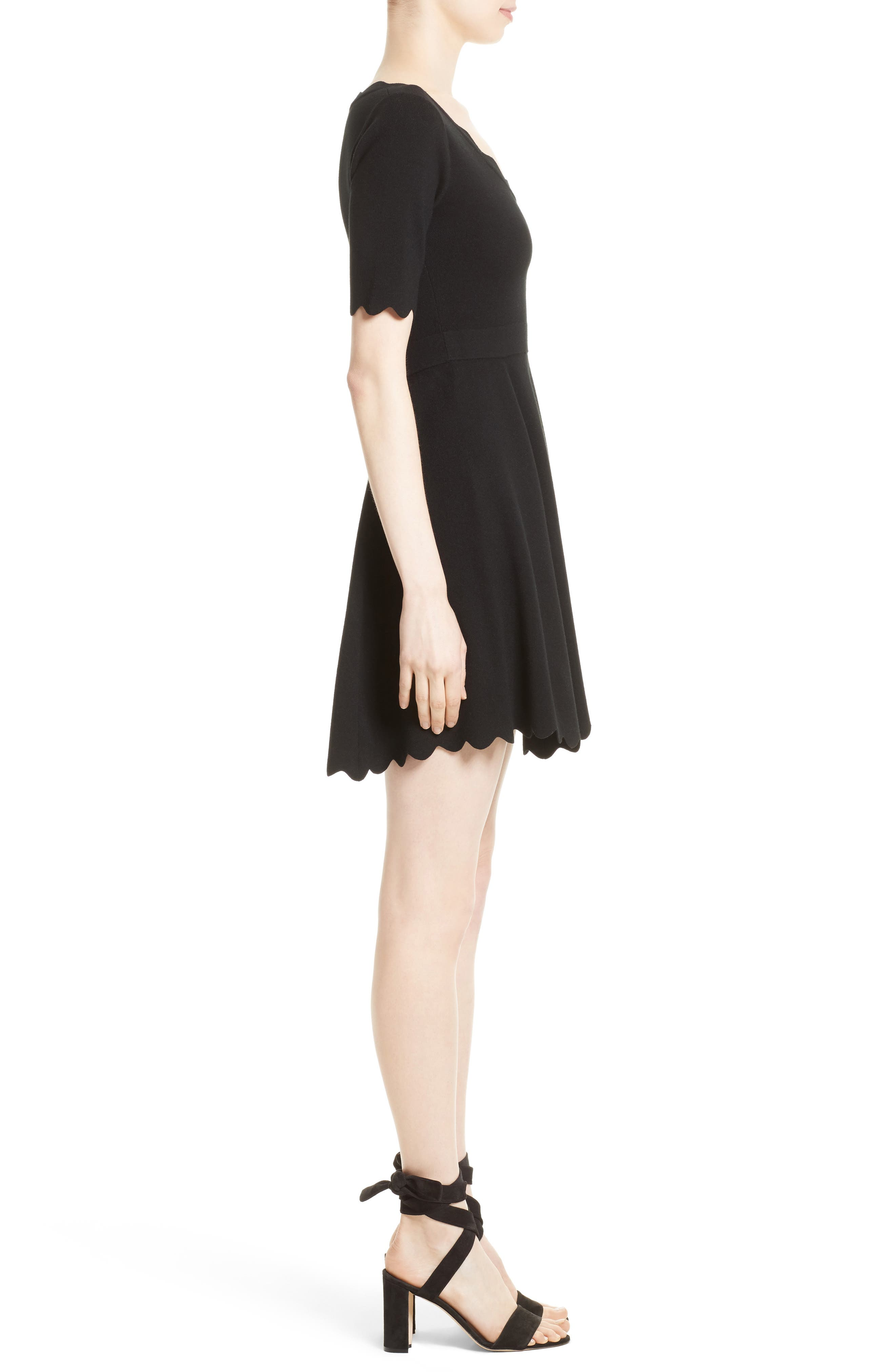 Fit & Flare Knit Dress,                             Alternate thumbnail 3, color,                             001