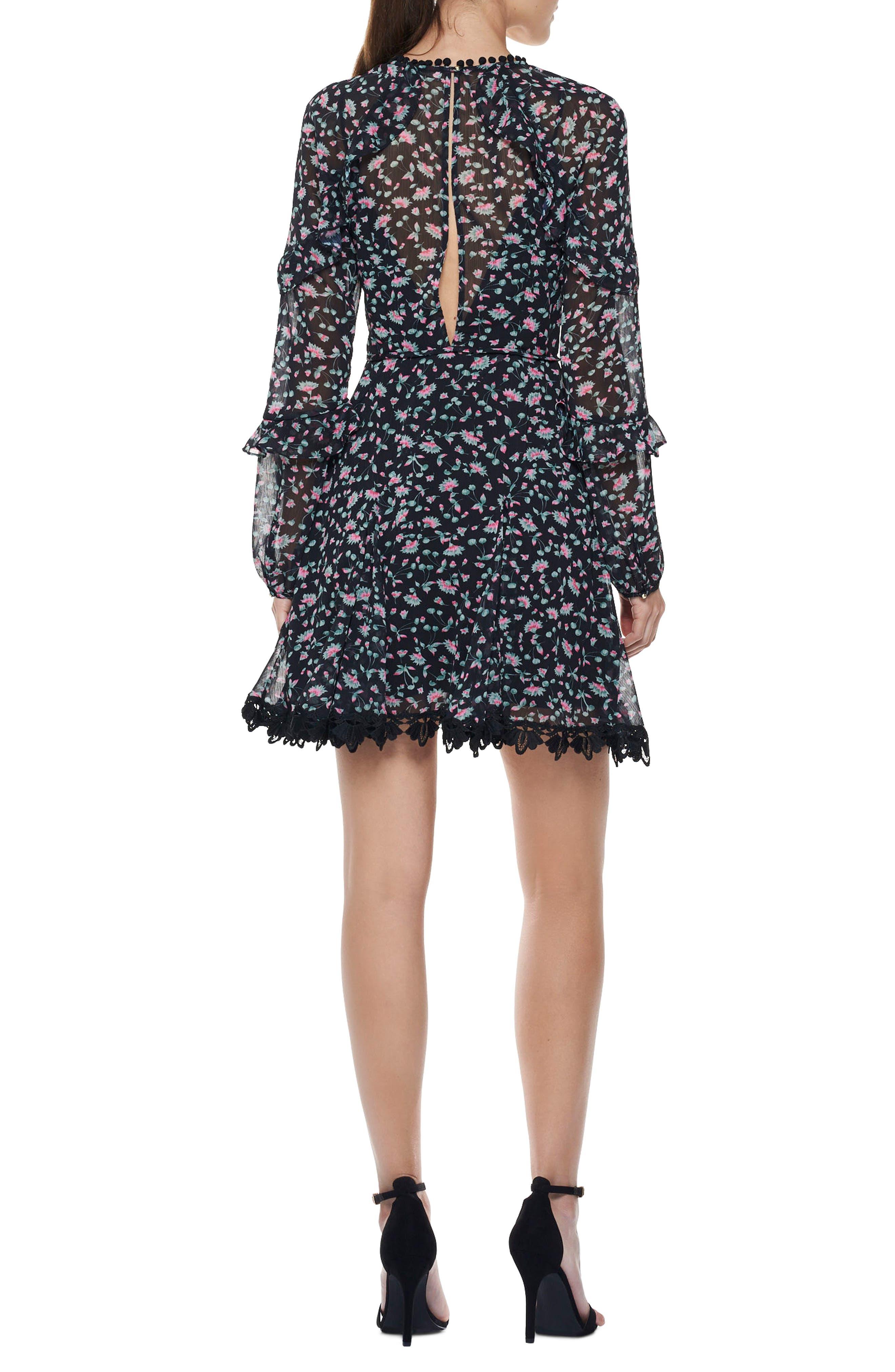 Unwavering Glamour Ruffle Minidress,                             Alternate thumbnail 2, color,                             001