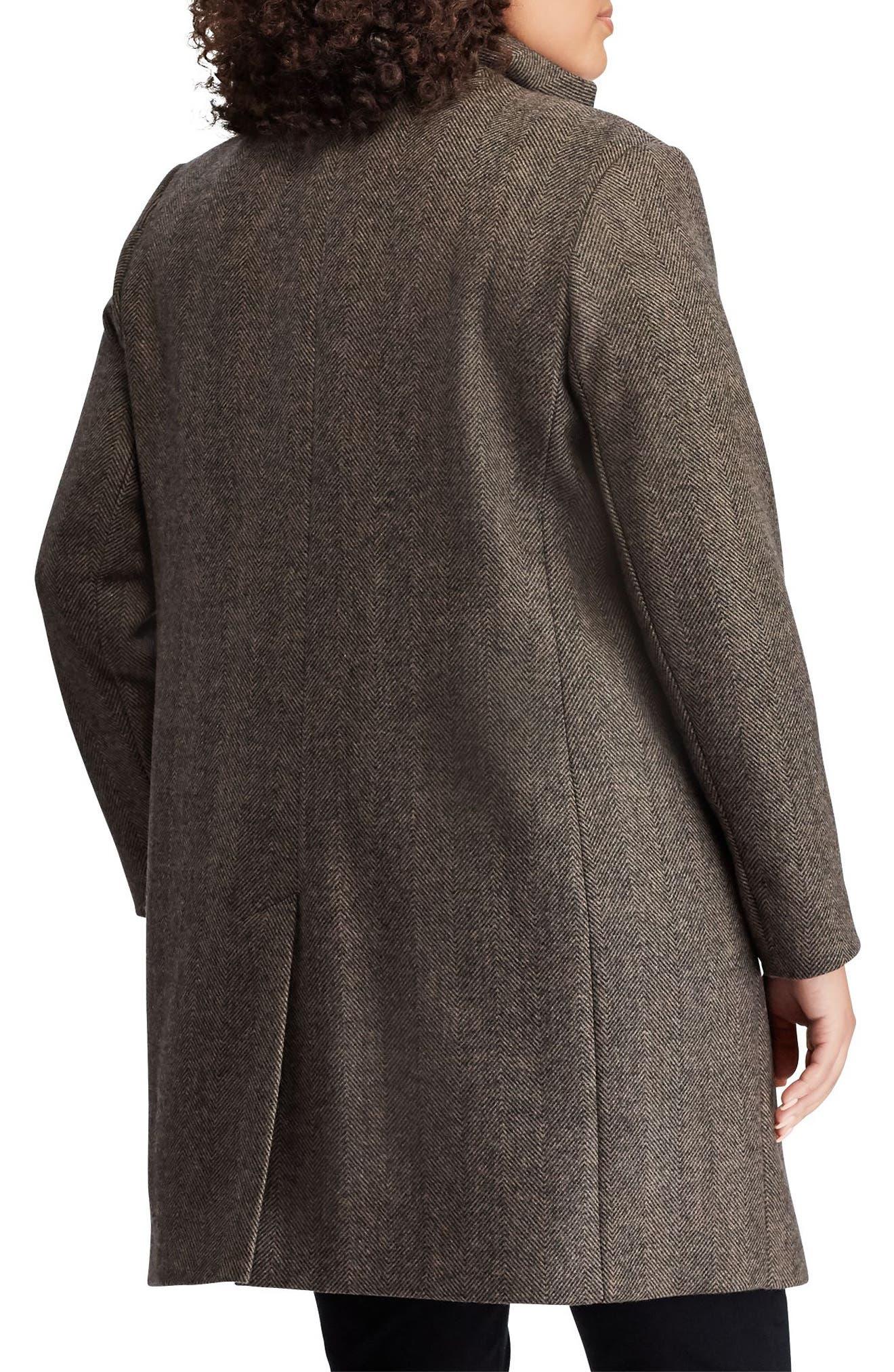 LAUREN RALPH LAUREN,                             Herringbone Wool Blend Reefer Coat,                             Alternate thumbnail 2, color,                             008
