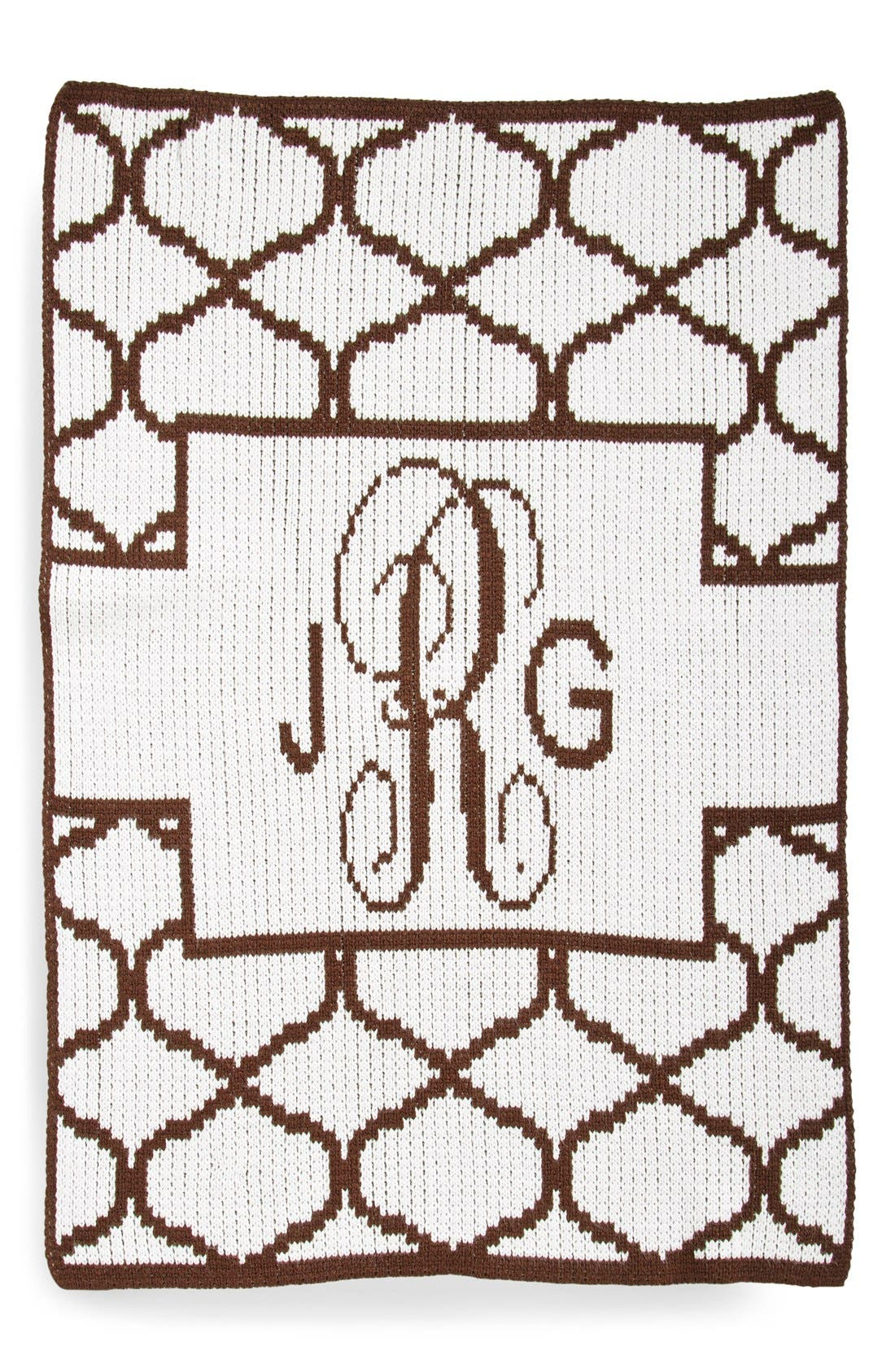 Lattice Personalized Blanket,                             Main thumbnail 1, color,                             WHITE/ BROWN