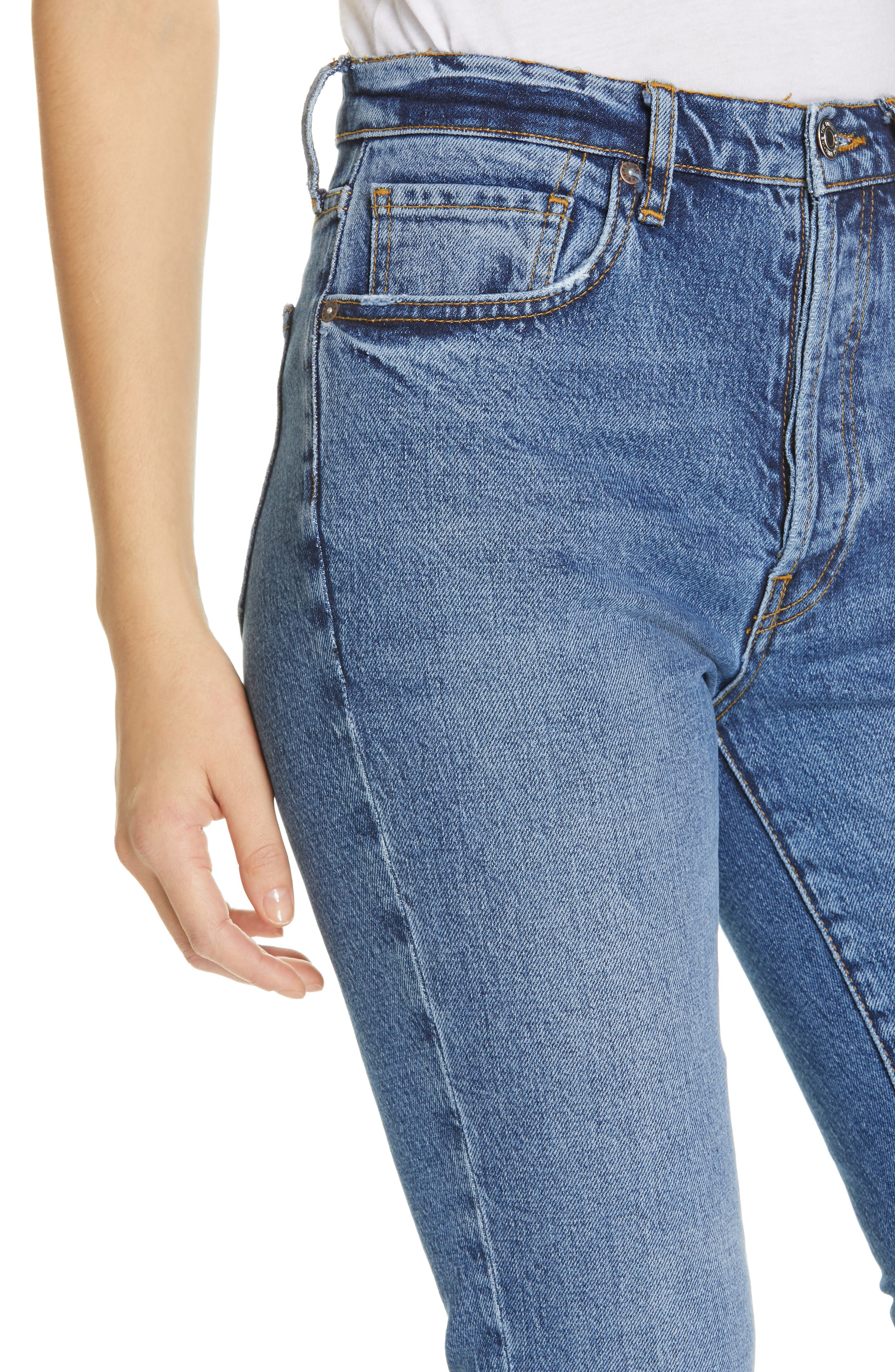We the Free by Free People Stella High Waist Raw Hem Skinny Jeans,                             Alternate thumbnail 4, color,                             DARK BLUE