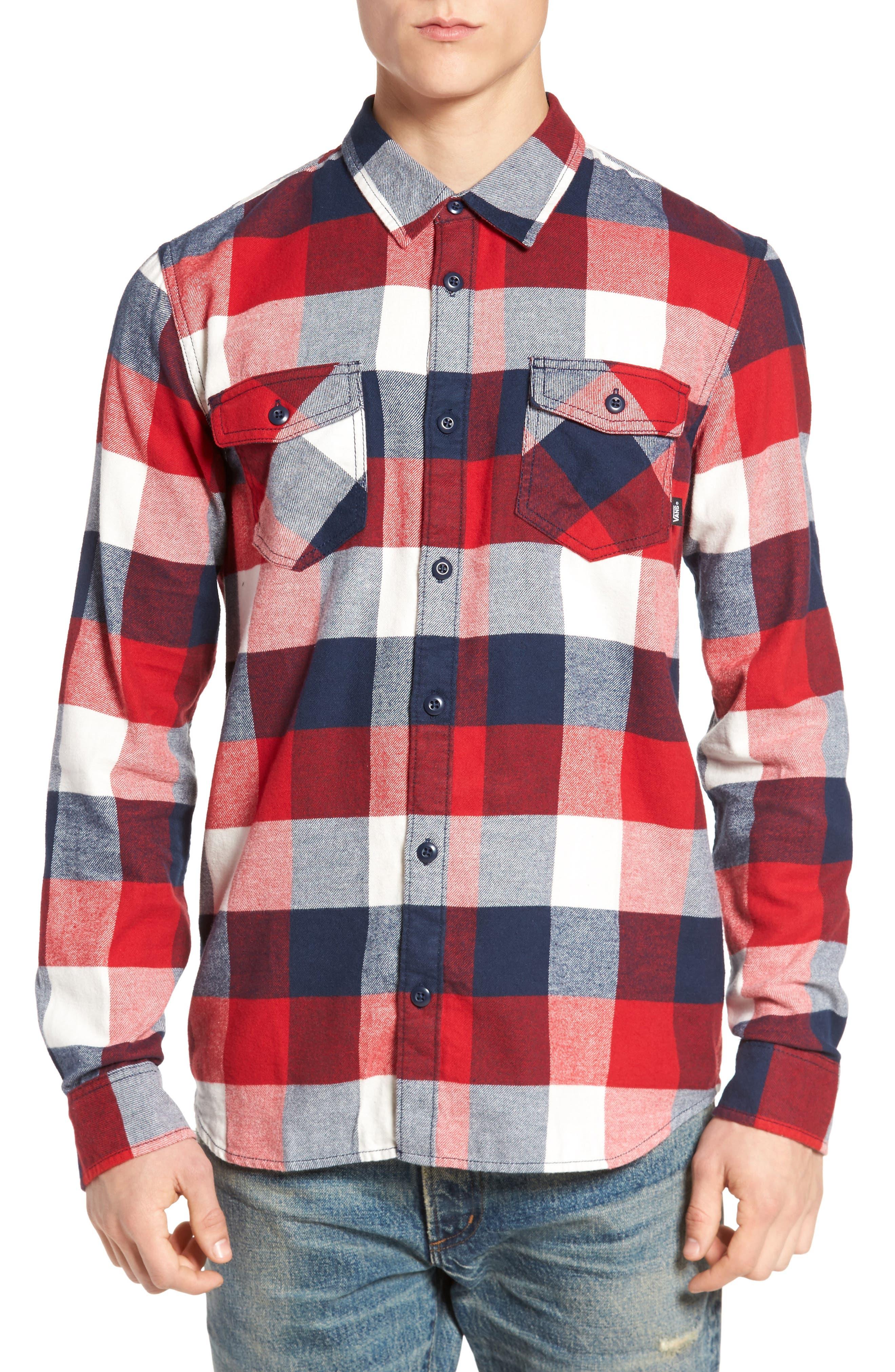 Trim Fit Check Flannel Woven Shirt,                             Main thumbnail 2, color,