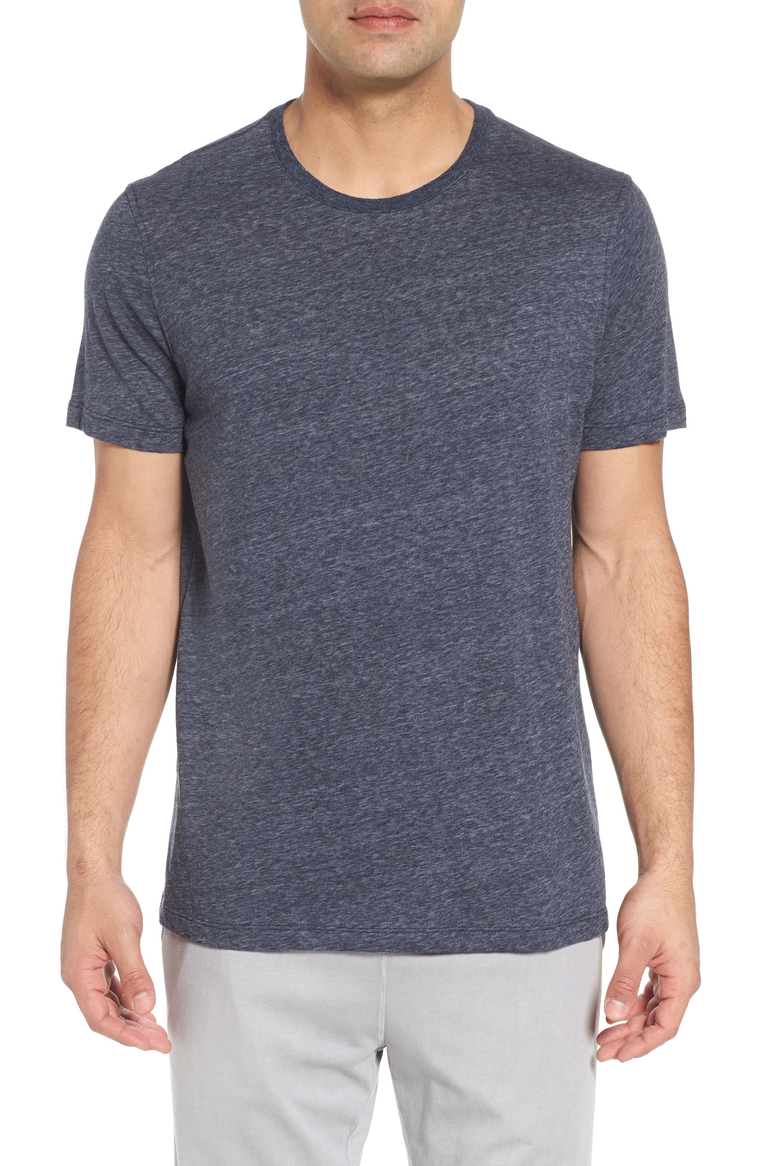 Recycled Cotton Blend T-Shirt,                             Main thumbnail 1, color,                             NAVY HEATHER