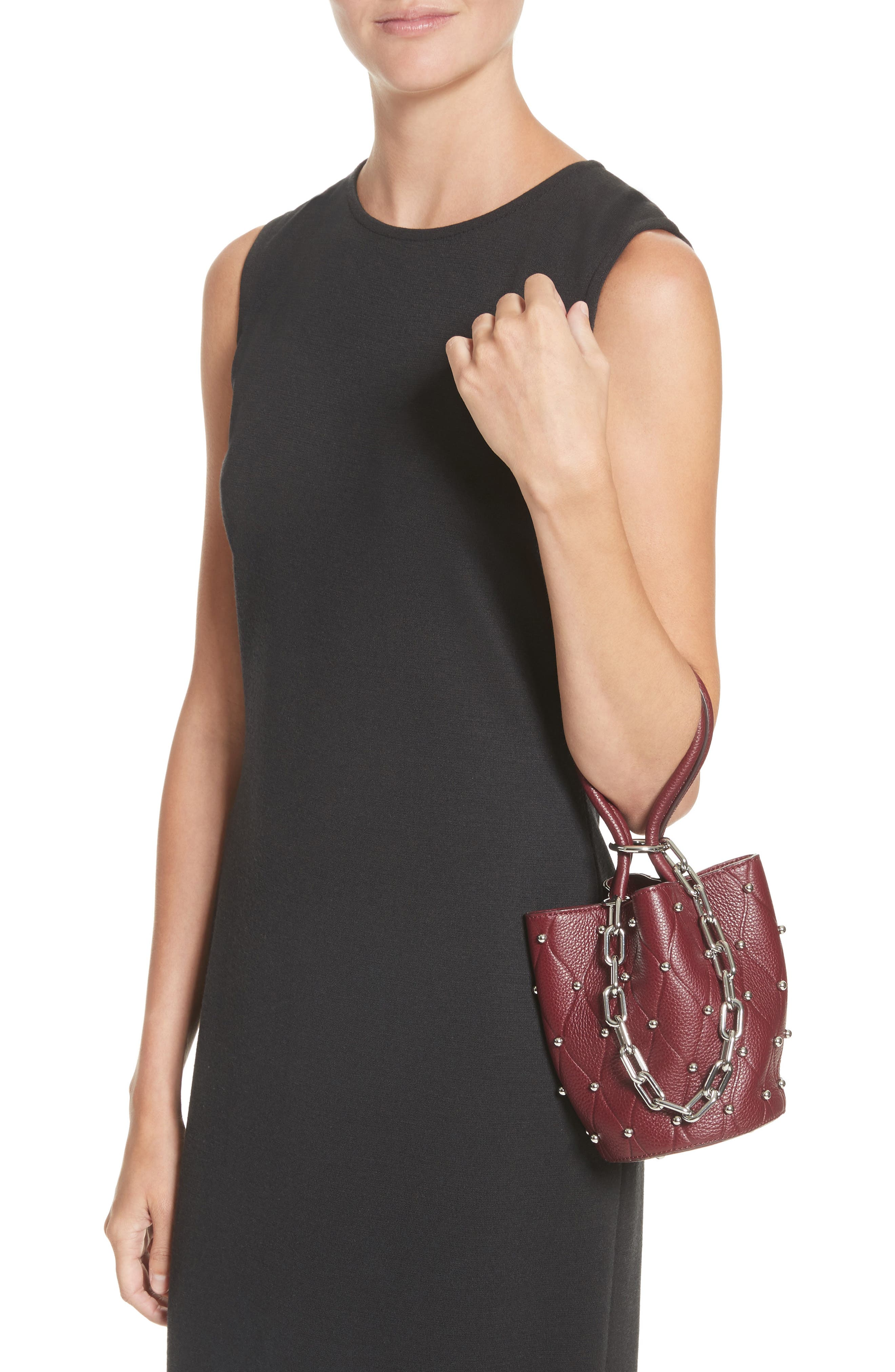Mini Roxy Studded Leather Bucket Bag,                             Alternate thumbnail 2, color,                             616