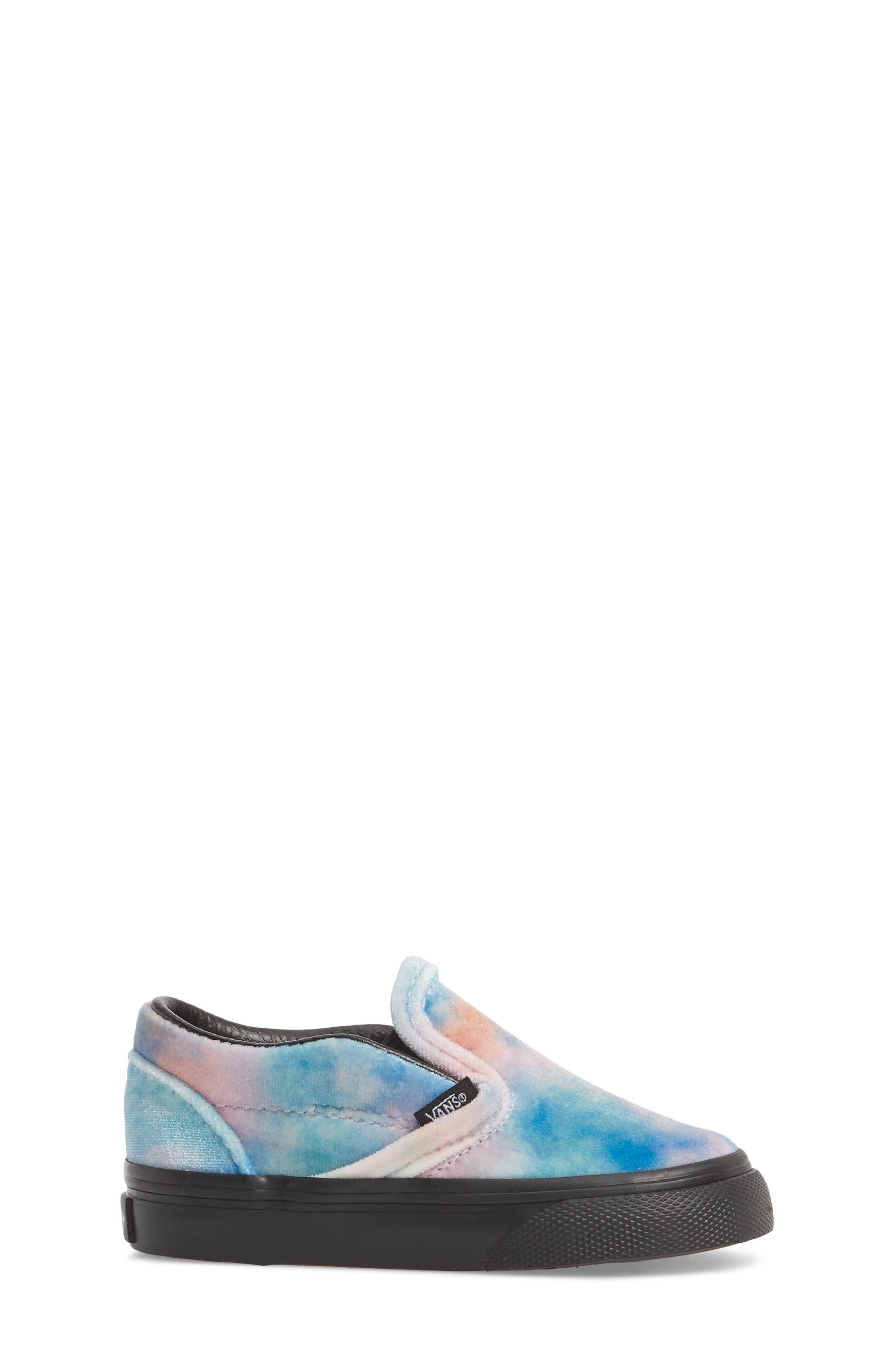 Classic Velvet Tie Dye Slip-On Sneaker,                             Alternate thumbnail 3, color,                             001