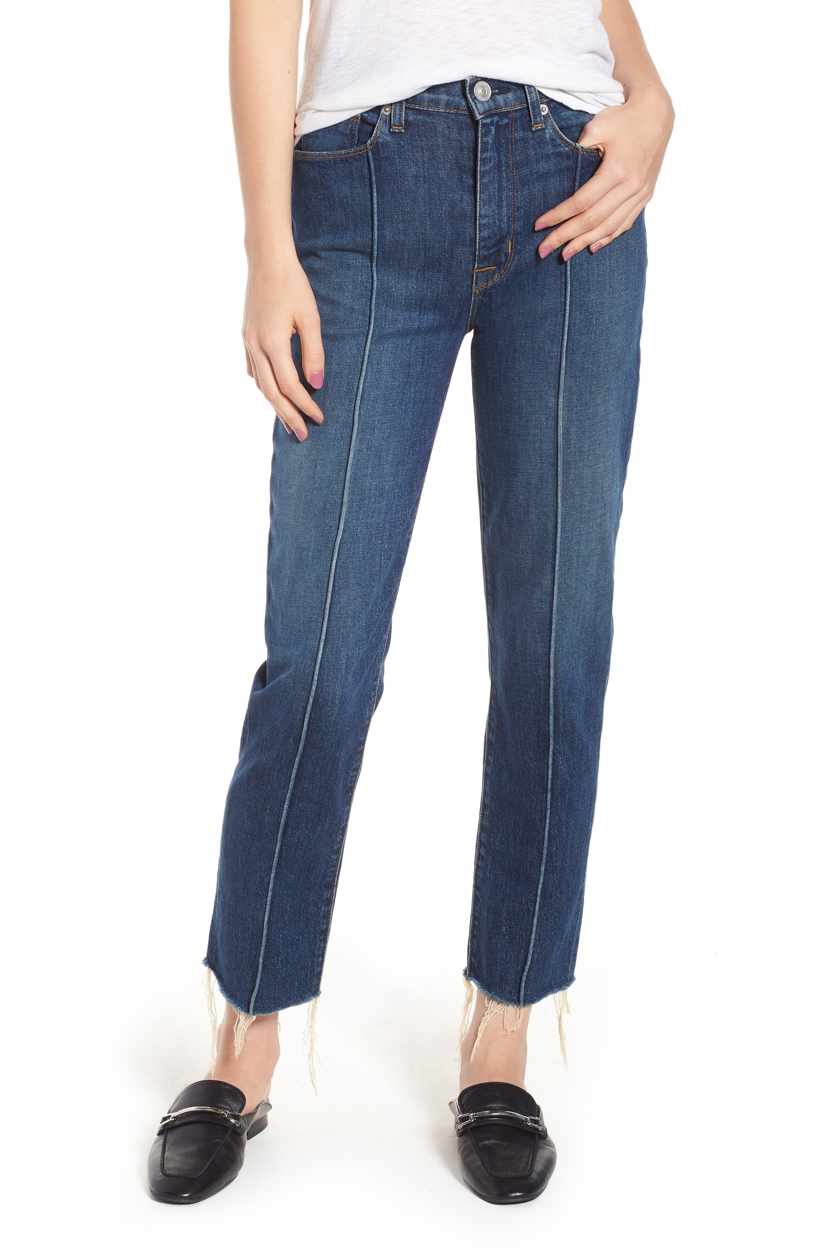 Zoeey High Waist Crop Straight Leg Jeans,                         Main,                         color, 402