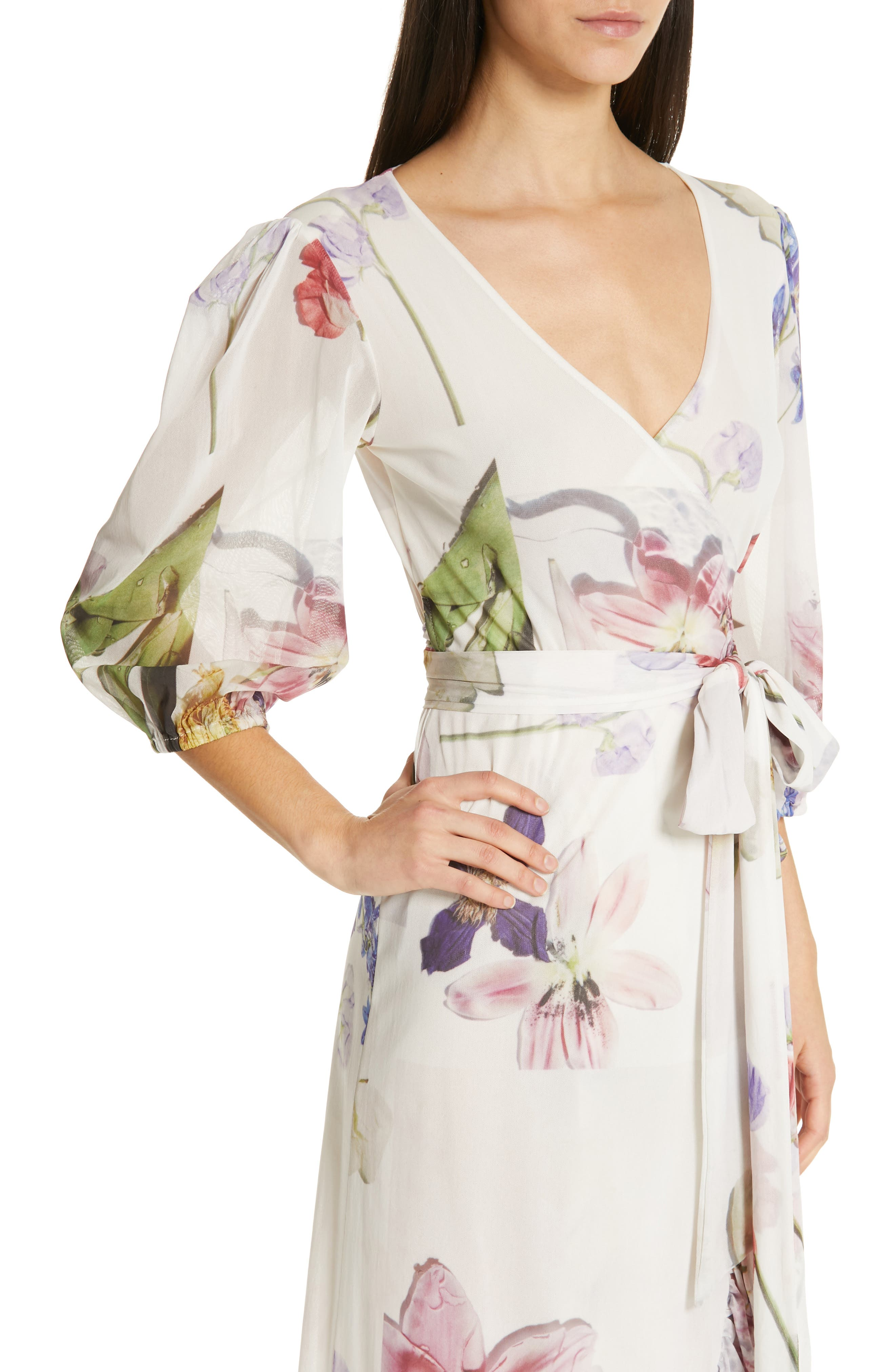 GANNI,                             Floral Print Mesh Dress,                             Alternate thumbnail 5, color,                             BRIGHT WHITE