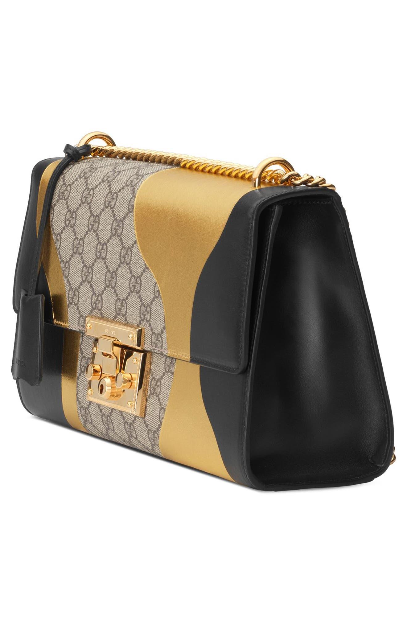 Medium Padlock GG Supreme Canvas & Leather Shoulder Bag,                             Alternate thumbnail 4, color,                             NERO/ORO VECCHIO
