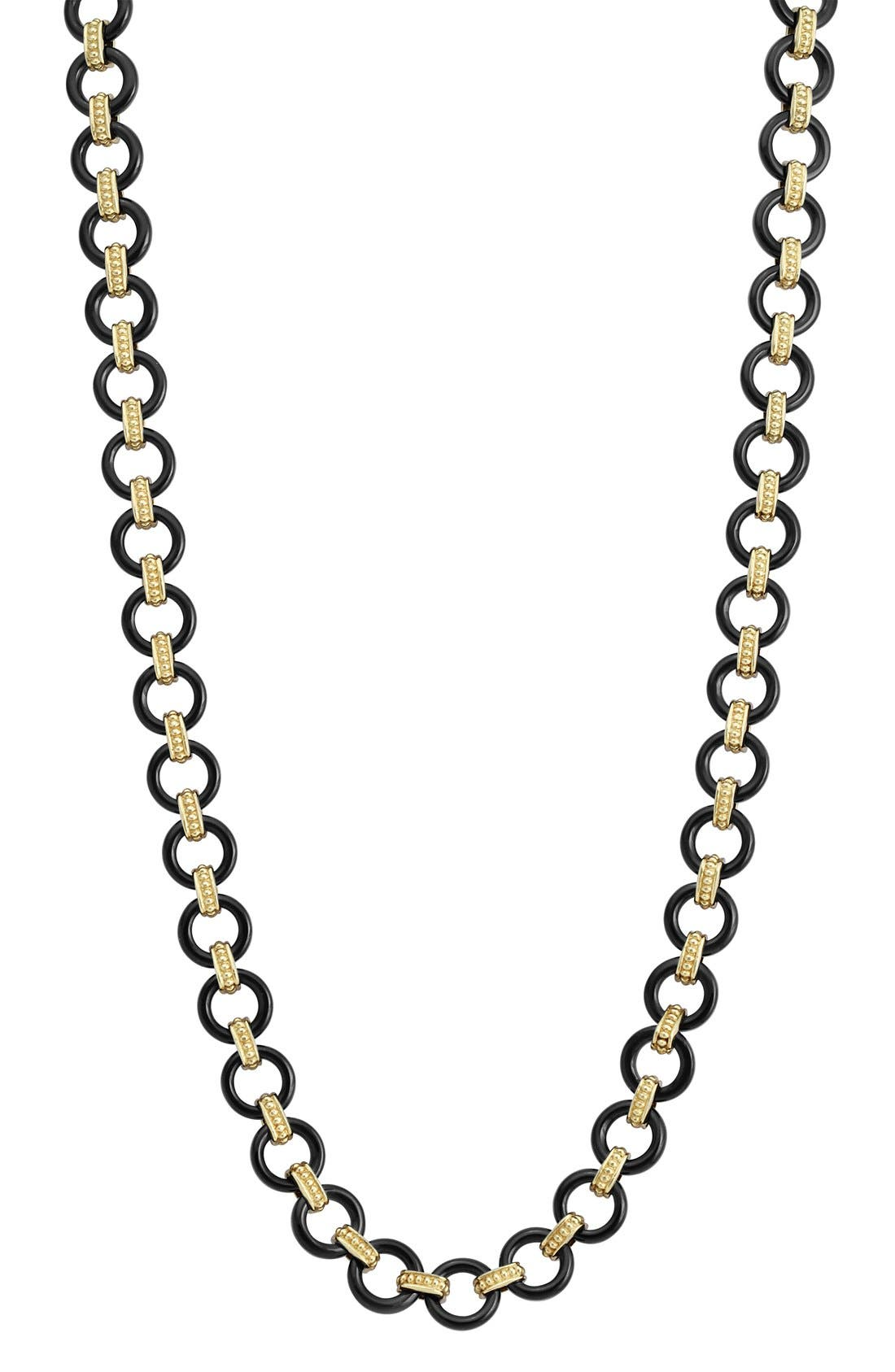 'Caviar Gold' Gold Link Necklace,                             Alternate thumbnail 3, color,                             001