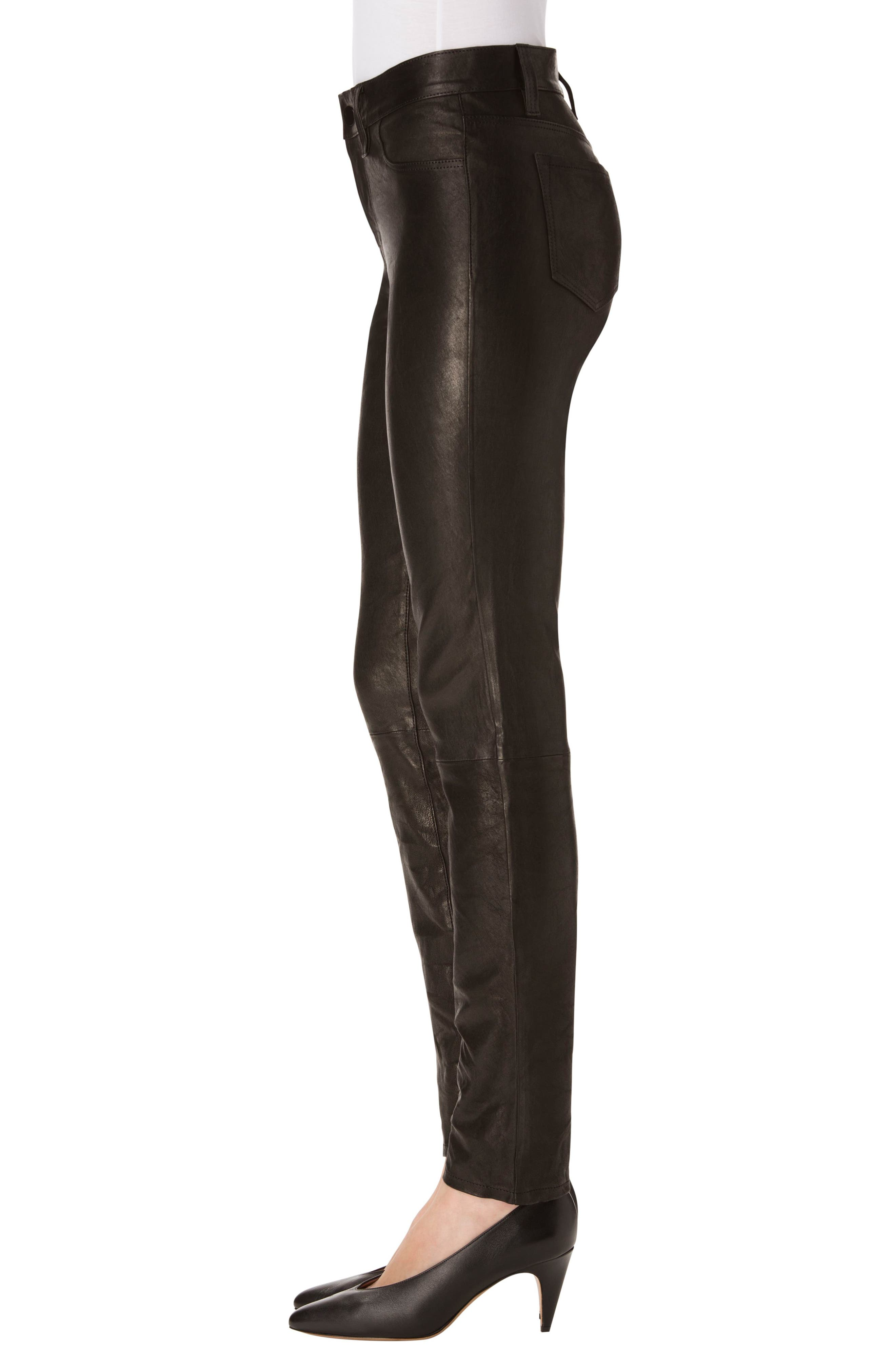 Maude Leather Cigarette Pants,                             Alternate thumbnail 3, color,                             001