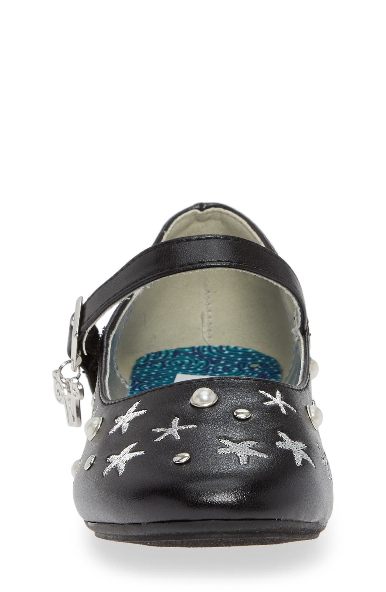 Camille Embellished Ballet Flat,                             Alternate thumbnail 4, color,                             BLACK