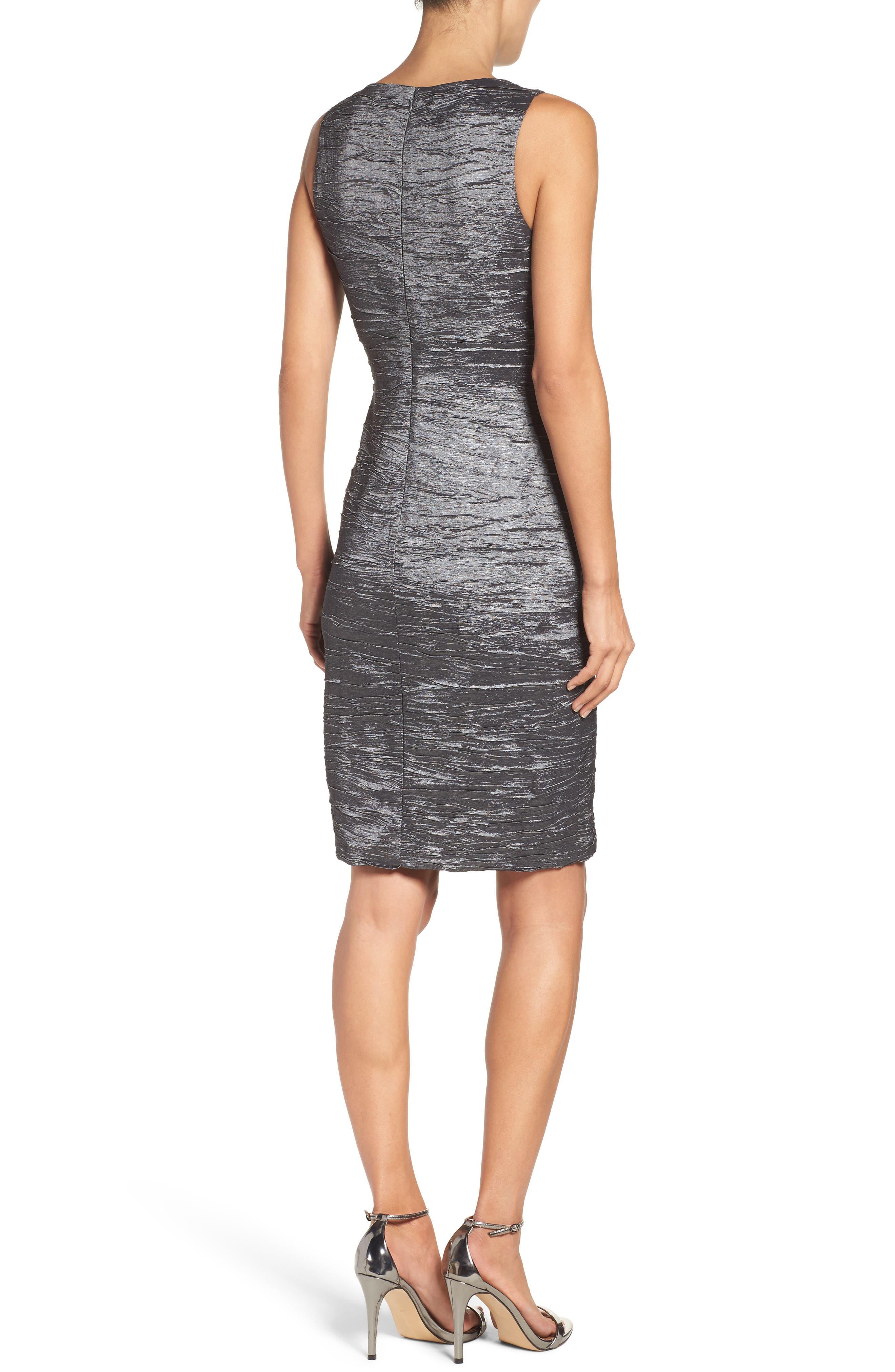 Embellished Cutout Taffeta Sheath Dress,                             Alternate thumbnail 2, color,                             CHARCOAL