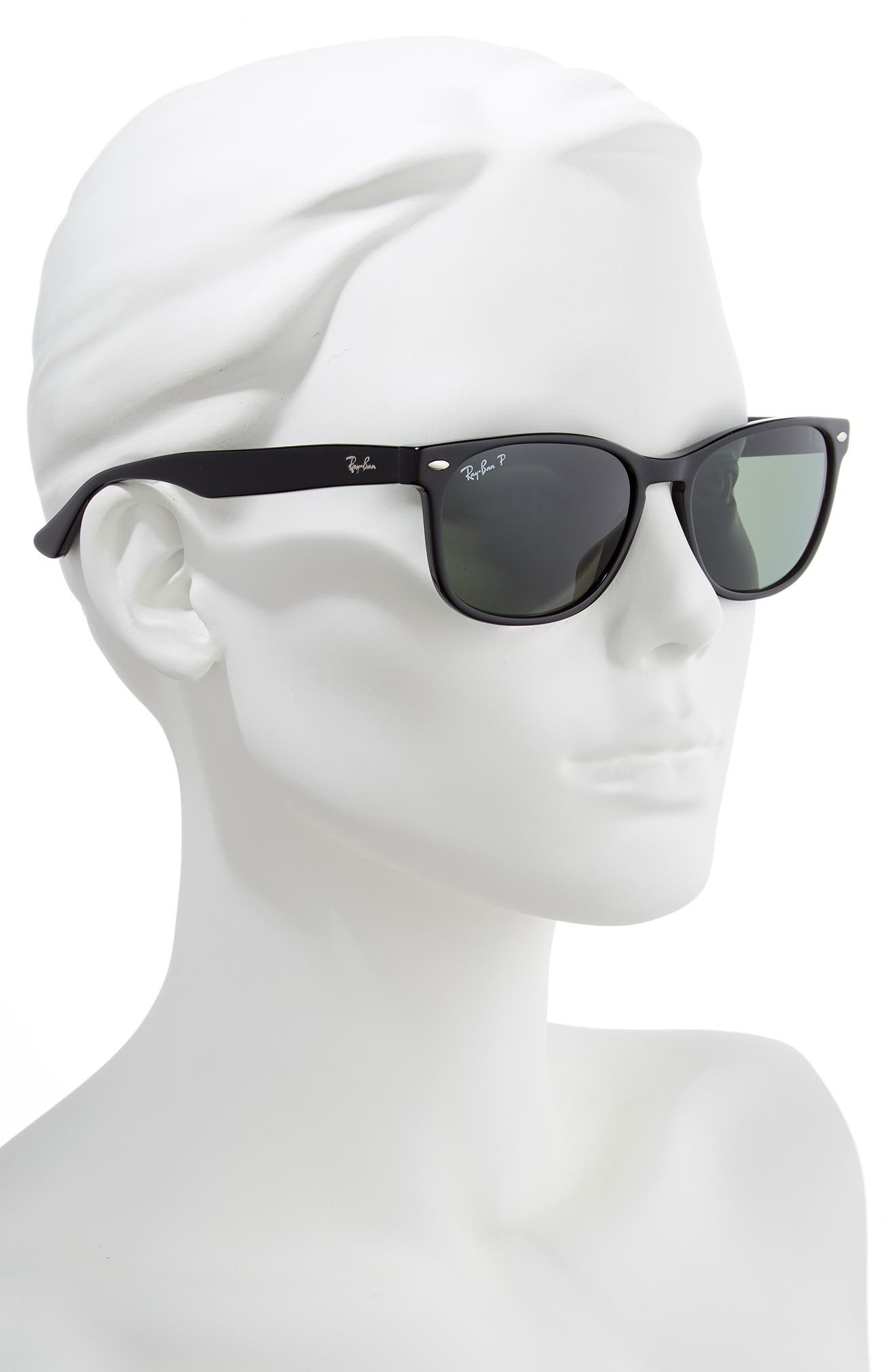 57mm Wayfarer Polarized Sunglasses,                             Alternate thumbnail 2, color,                             BLACK/ GREEN SOLID